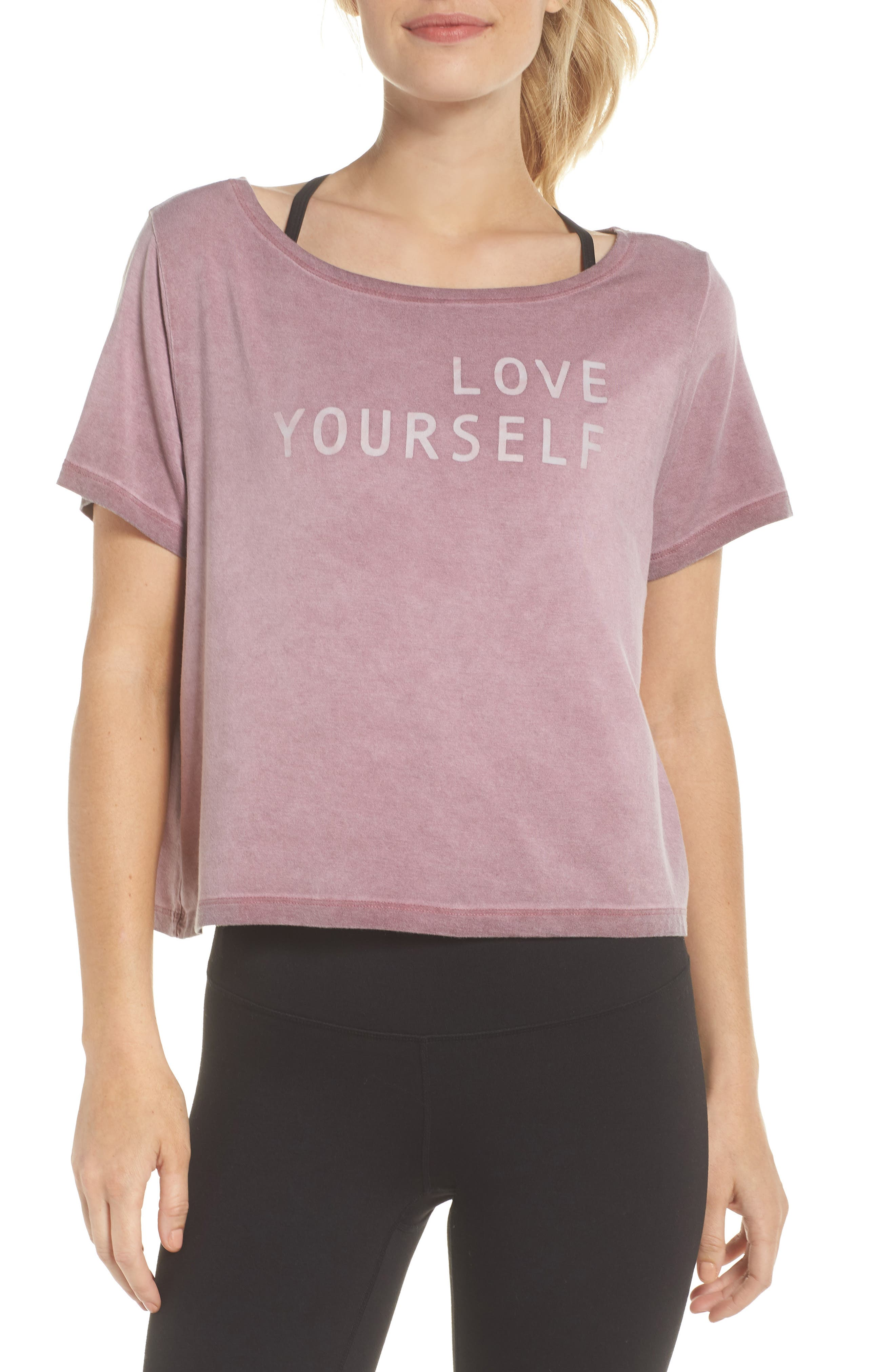 Payton Love Yourself Crop Tee,                             Main thumbnail 1, color,                             ROSEWOOD OIL WASH