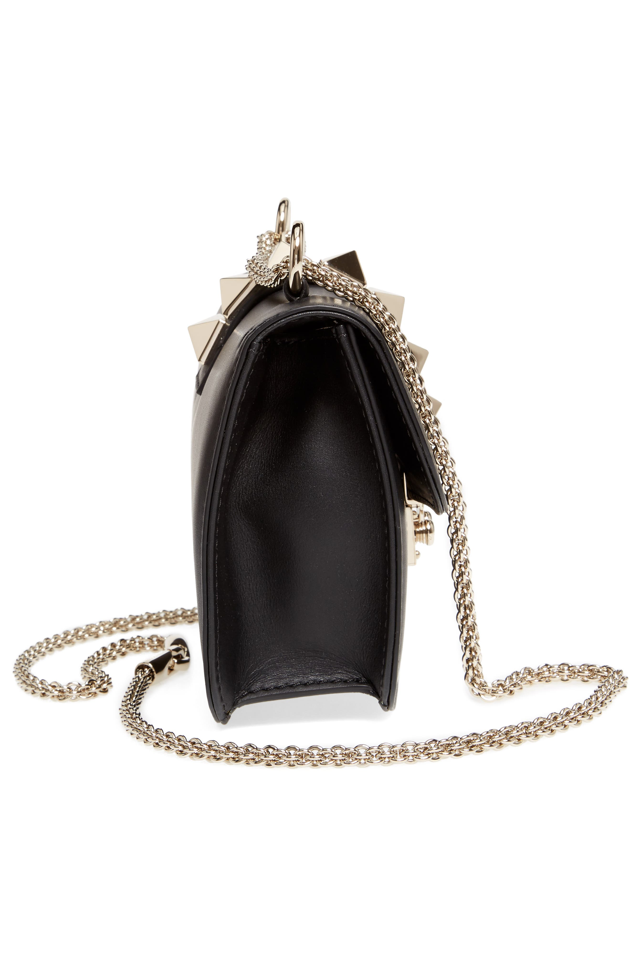 Small Lock Leather Crossbody Bag,                             Alternate thumbnail 5, color,                             NERO