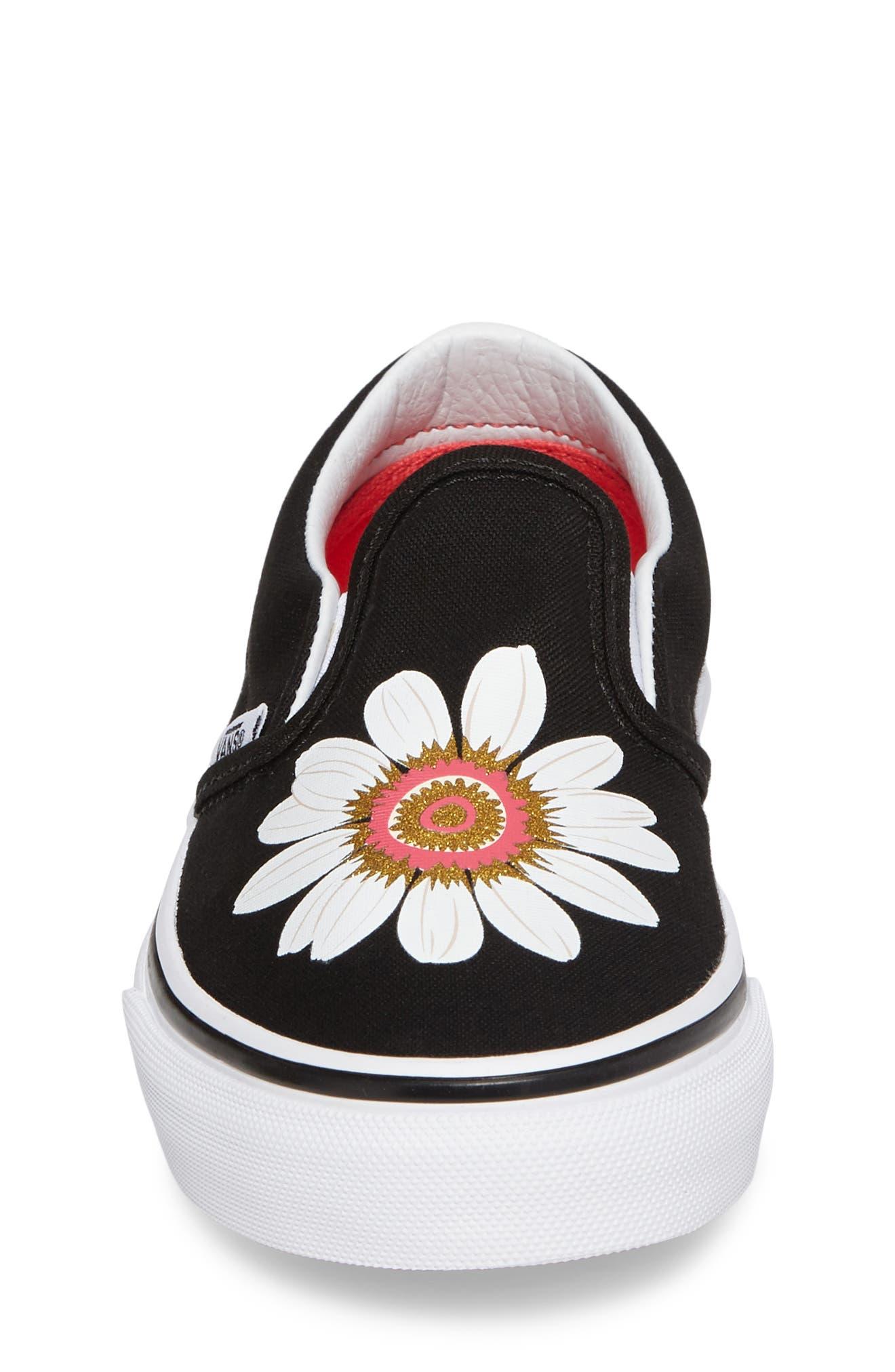 Classic Flower Slip-On Sneaker,                             Alternate thumbnail 4, color,                             001