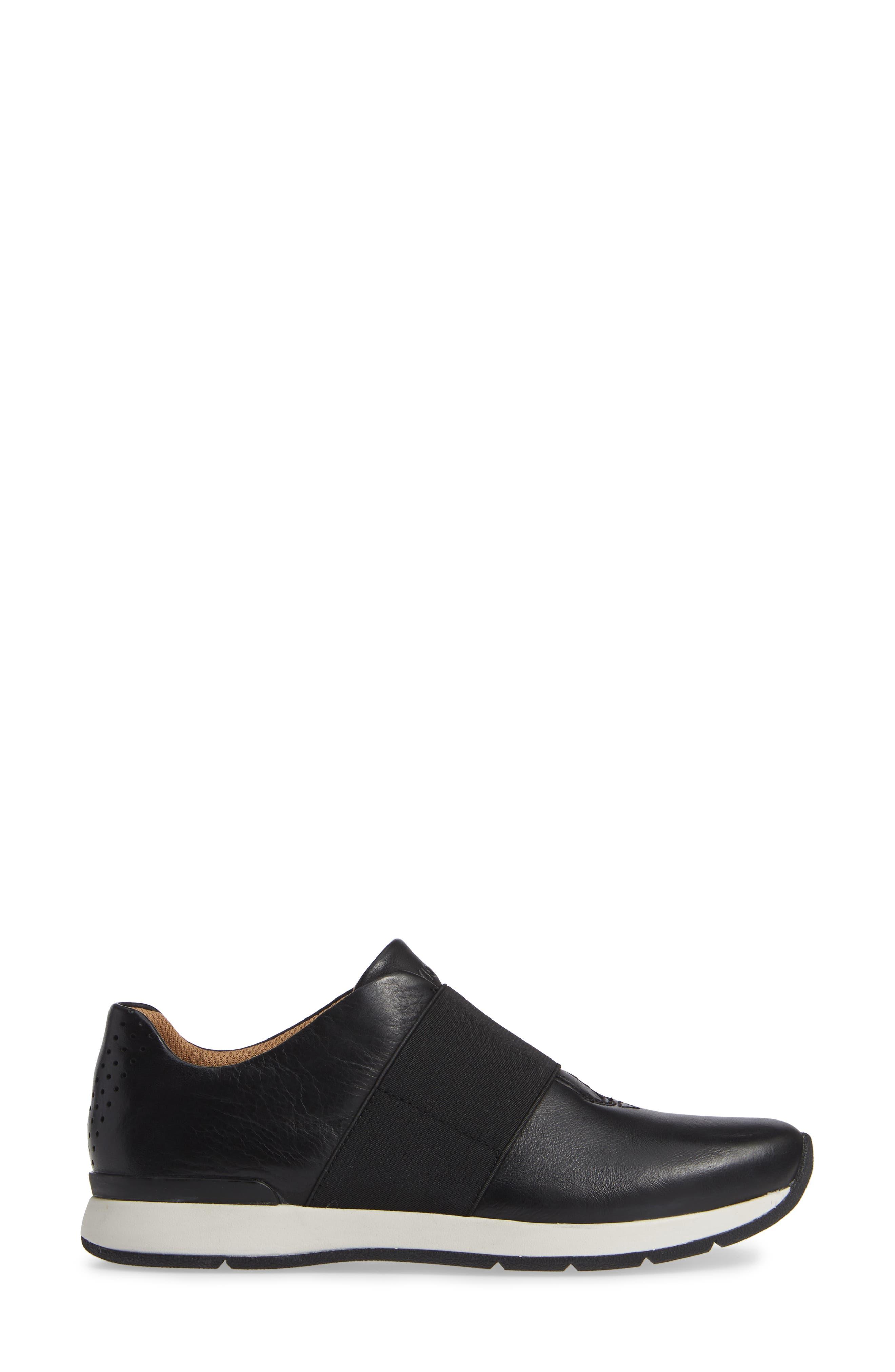 Codie Slip-On Sneaker,                             Alternate thumbnail 3, color,                             BLACK LEATHER