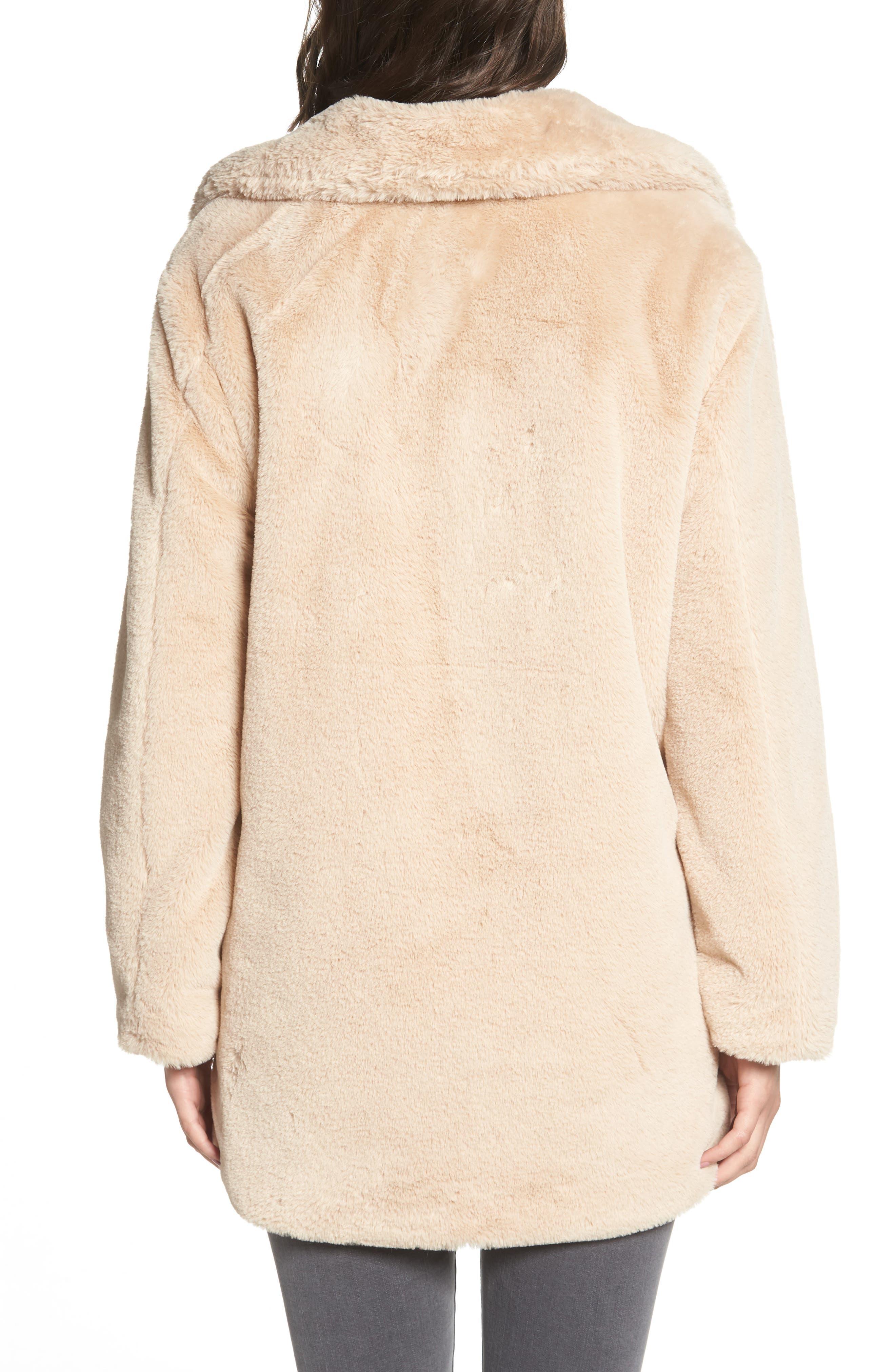 Faux Fur Coat,                             Alternate thumbnail 2, color,                             BLUSH BEIGE