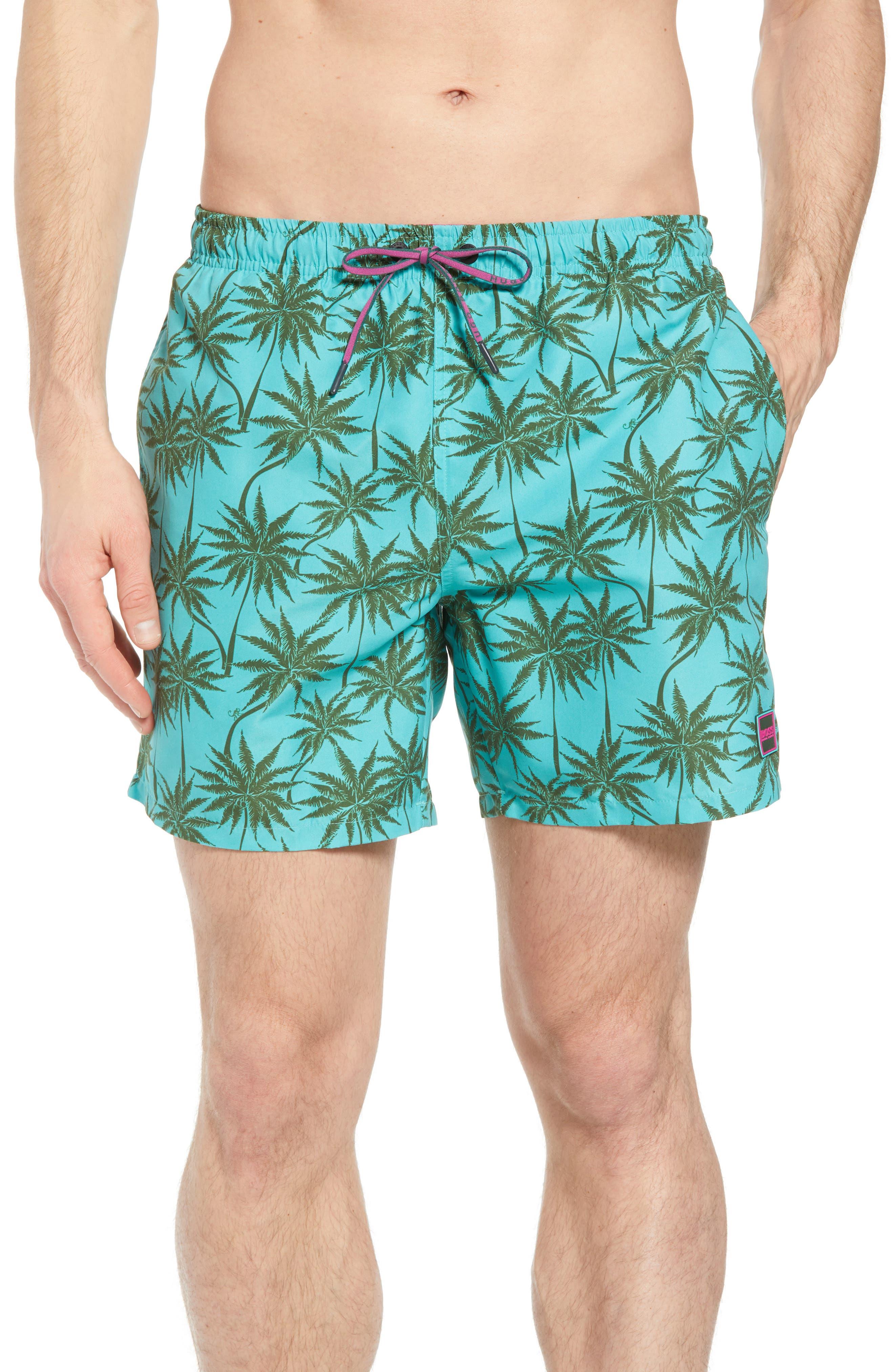 Piranha Palm Tree Swim Trunks,                             Main thumbnail 1, color,                             483