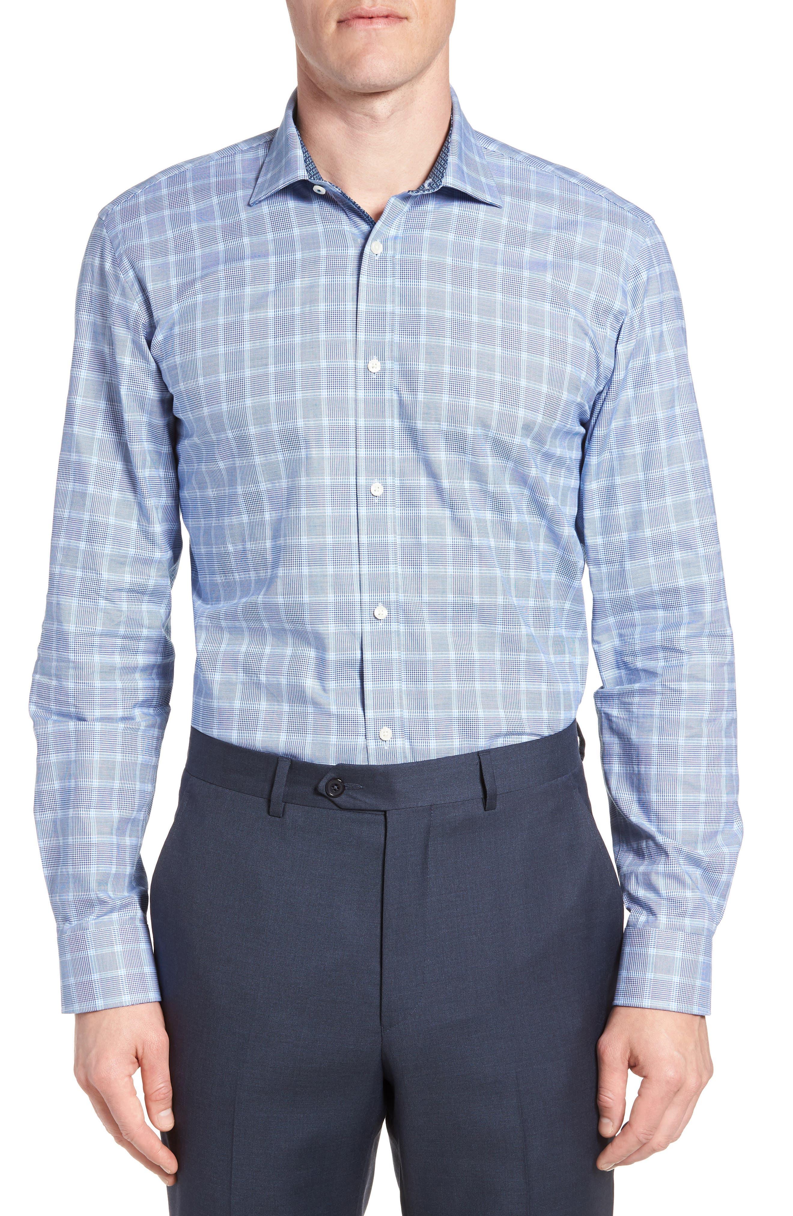 Royaltt Trim Fit Plaid Dress Shirt,                         Main,                         color, NAVY