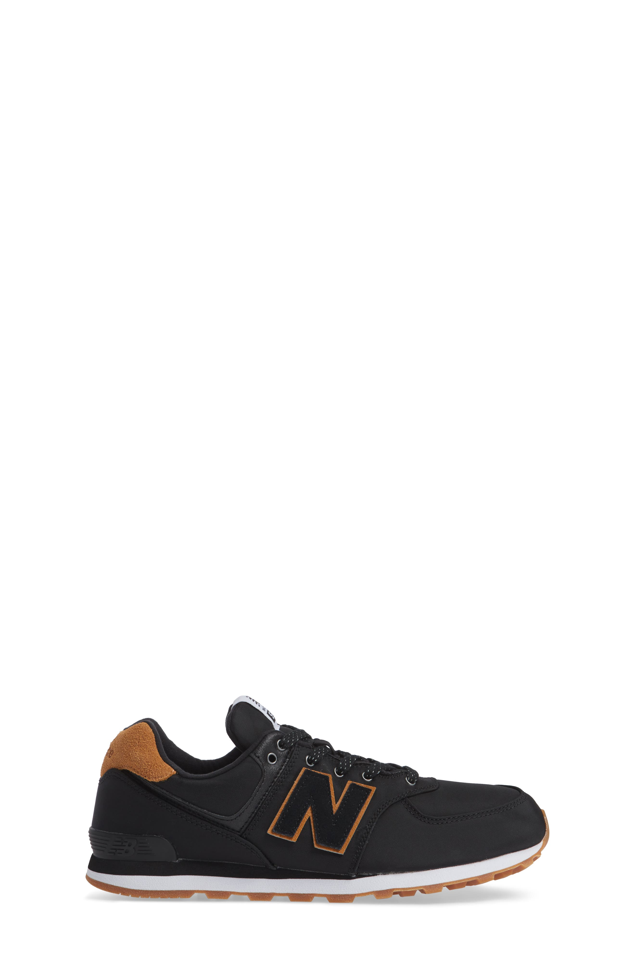 574 Essentials Sneaker,                             Alternate thumbnail 3, color,                             BLACK/ WHITE