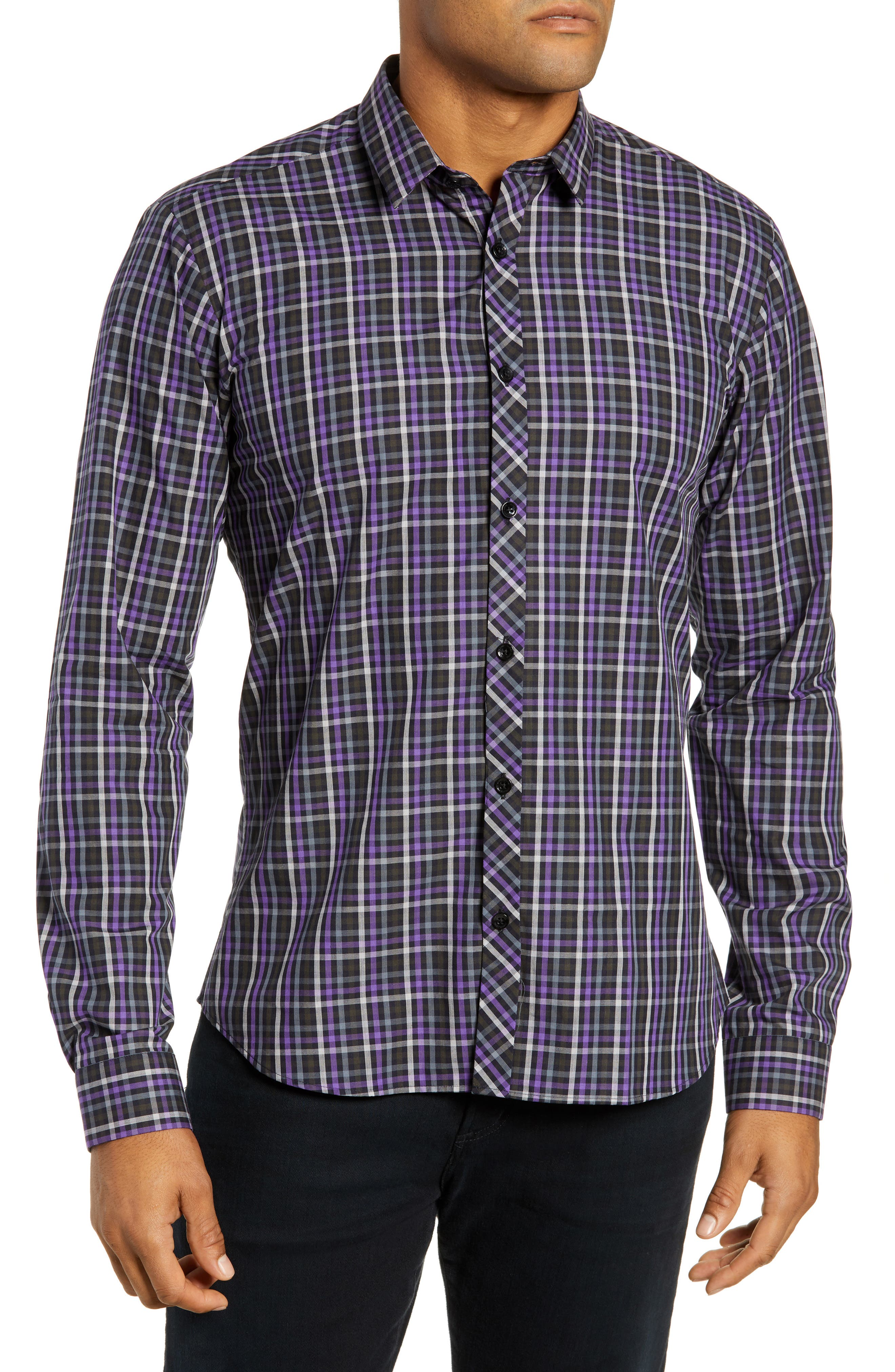Trim Fit Sport Shirt,                         Main,                         color, PURPLE - BLACK MULTI CHECK
