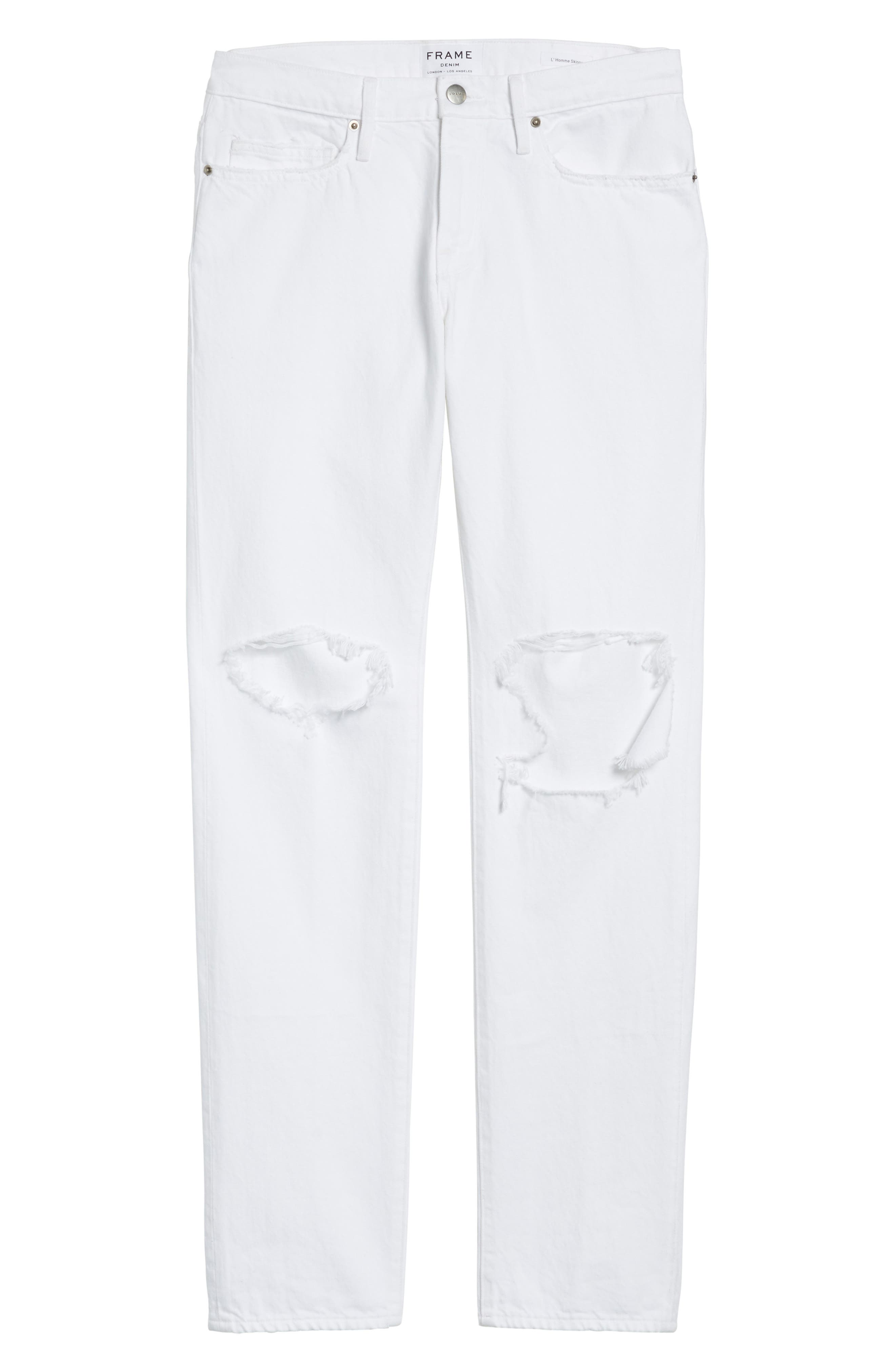 L'Homme Skinny Fit Jeans,                             Alternate thumbnail 6, color,                             WHITE OUT