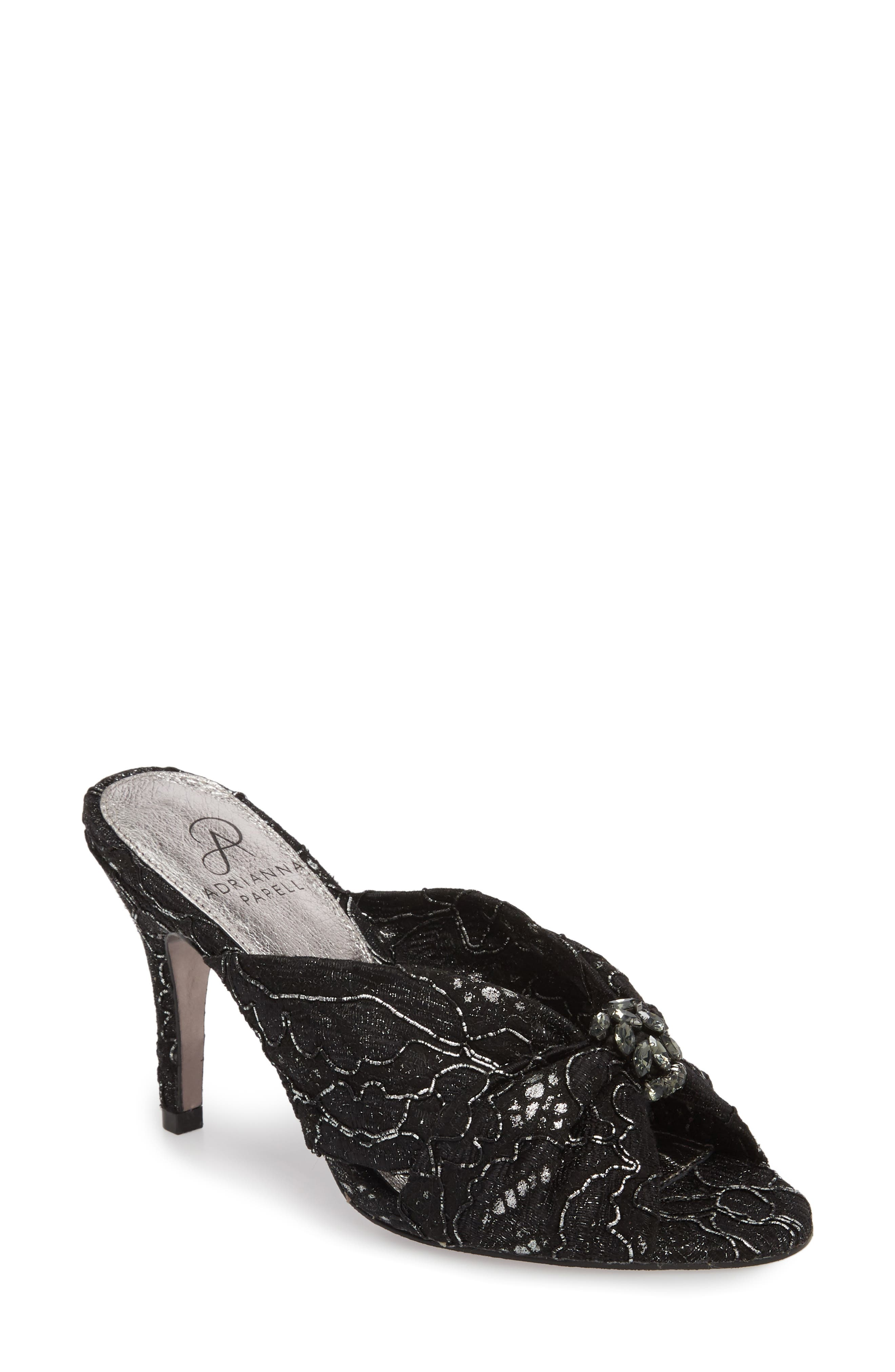 Flo Sandal,                         Main,                         color, PEWTER LACE FABRIC