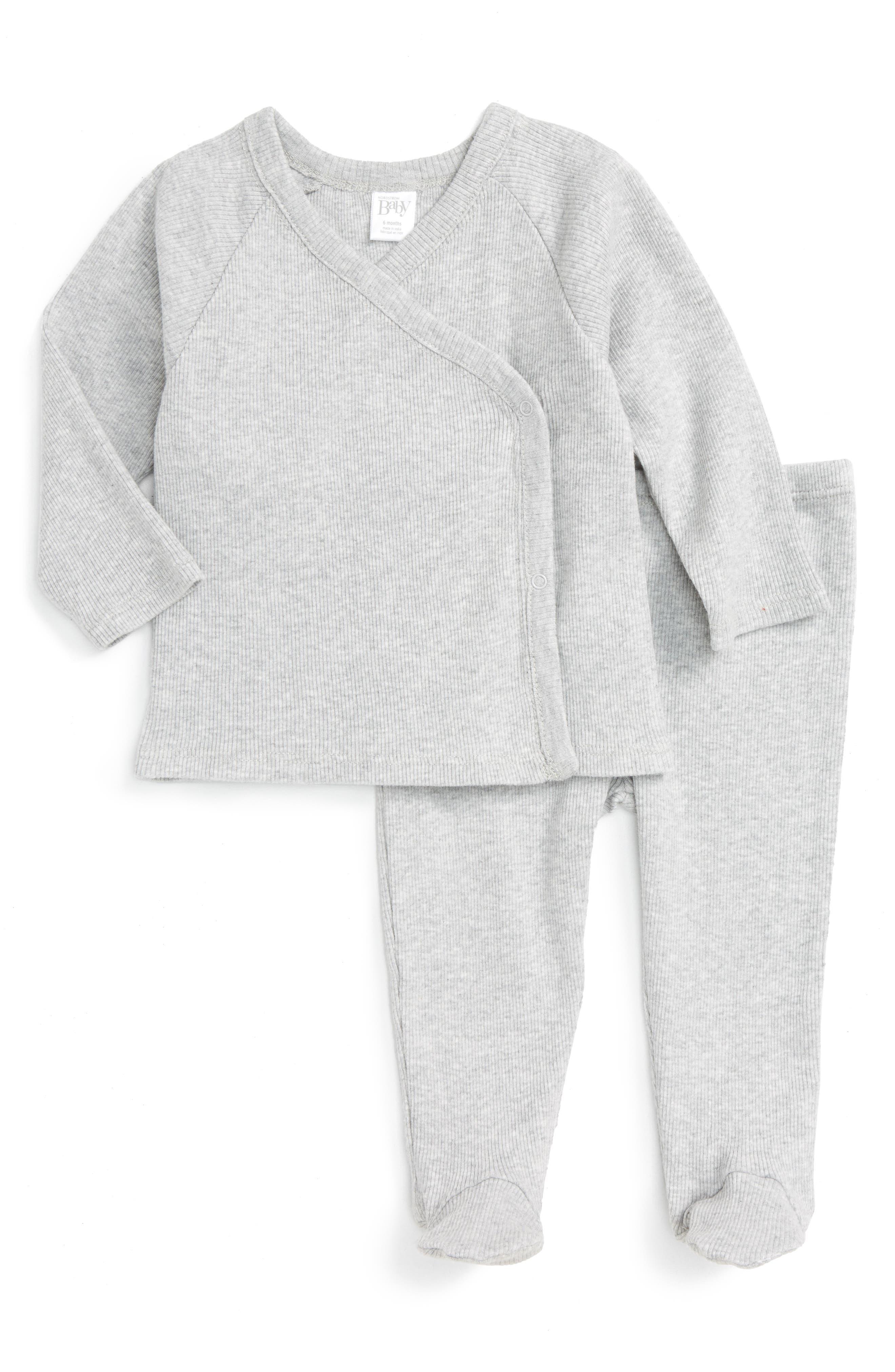 Rib Knit T-Shirt & Pants Set,                         Main,                         color, GREY ASH HEATHER