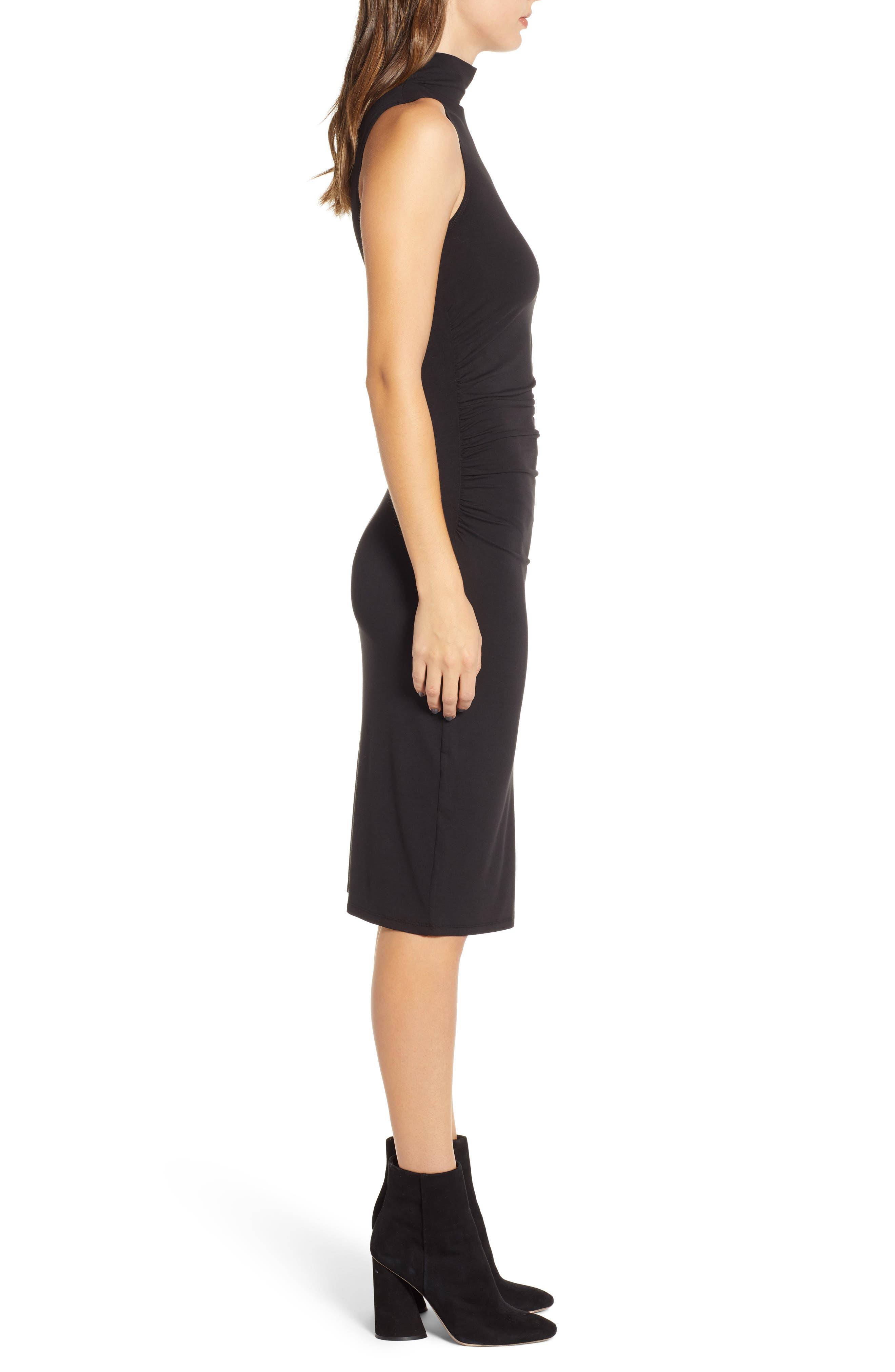 Mock Neck Tank Dress,                             Alternate thumbnail 3, color,                             BLACK