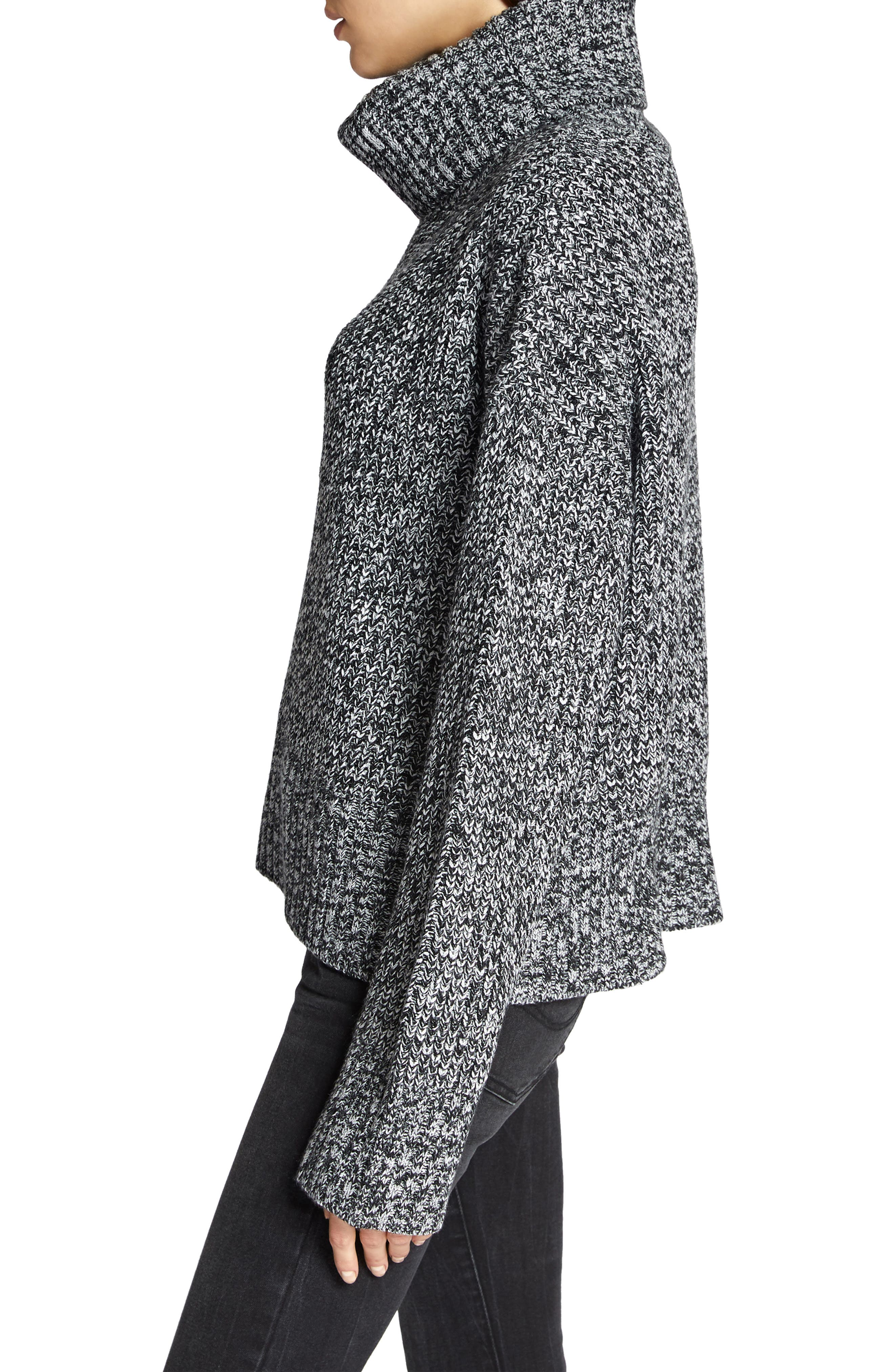 Cowl Neck Shaker Sweater,                             Alternate thumbnail 3, color,                             BLACK/ WINTER
