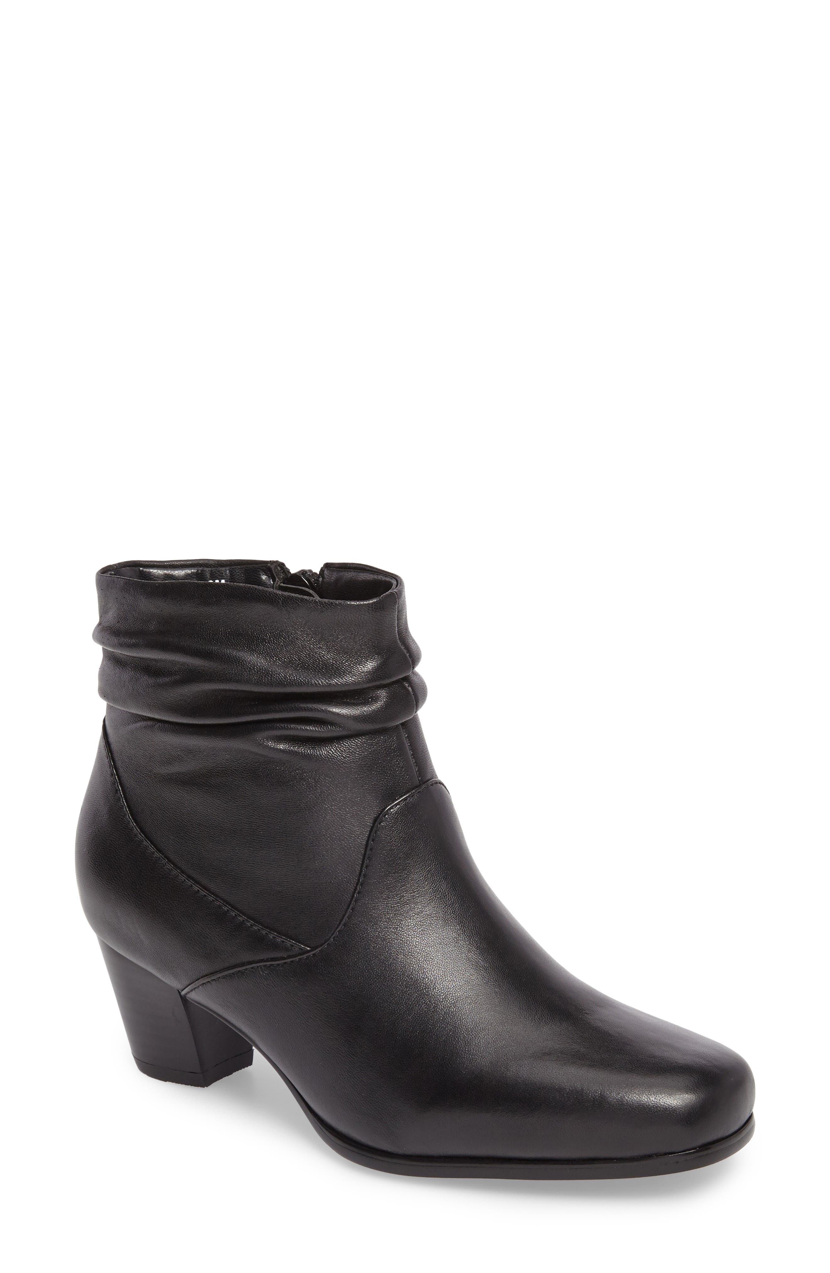 Shadown Bootie,                         Main,                         color, BLACK LEATHER