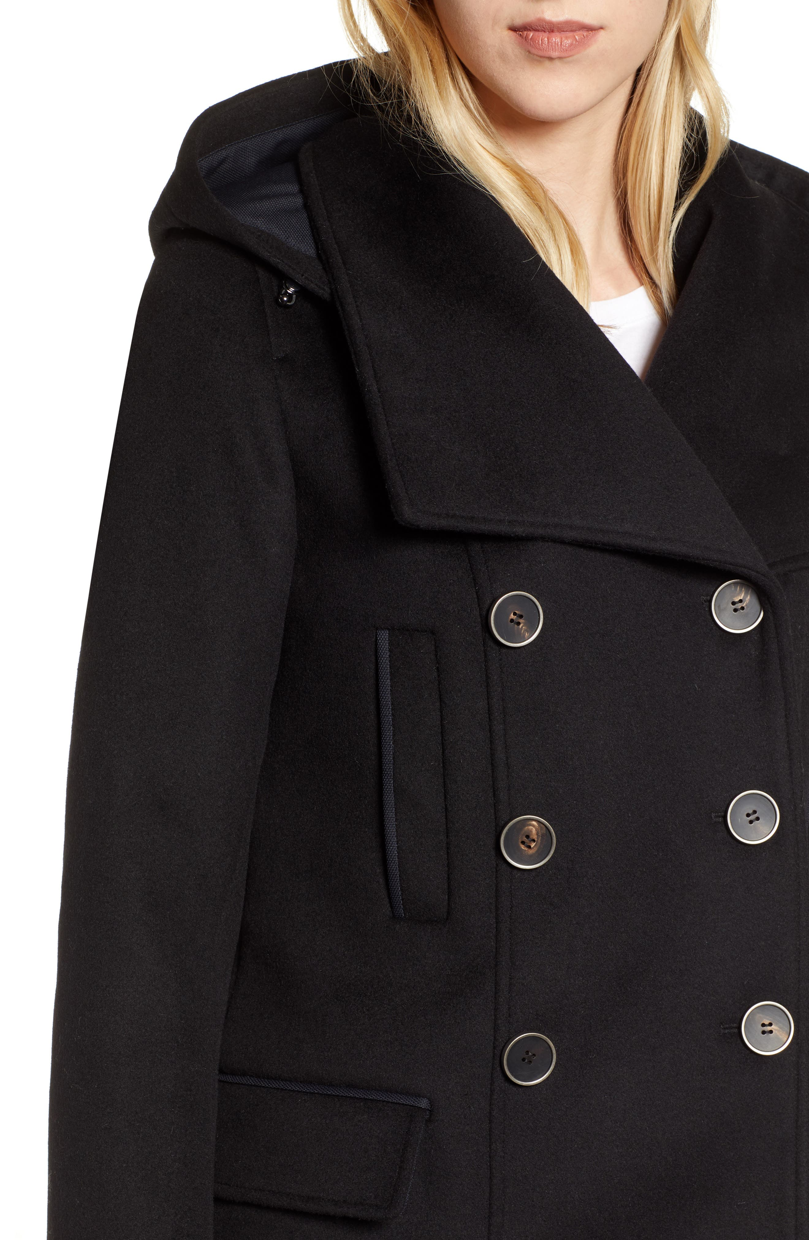 Hooded Peacoat,                             Alternate thumbnail 4, color,                             BLACK