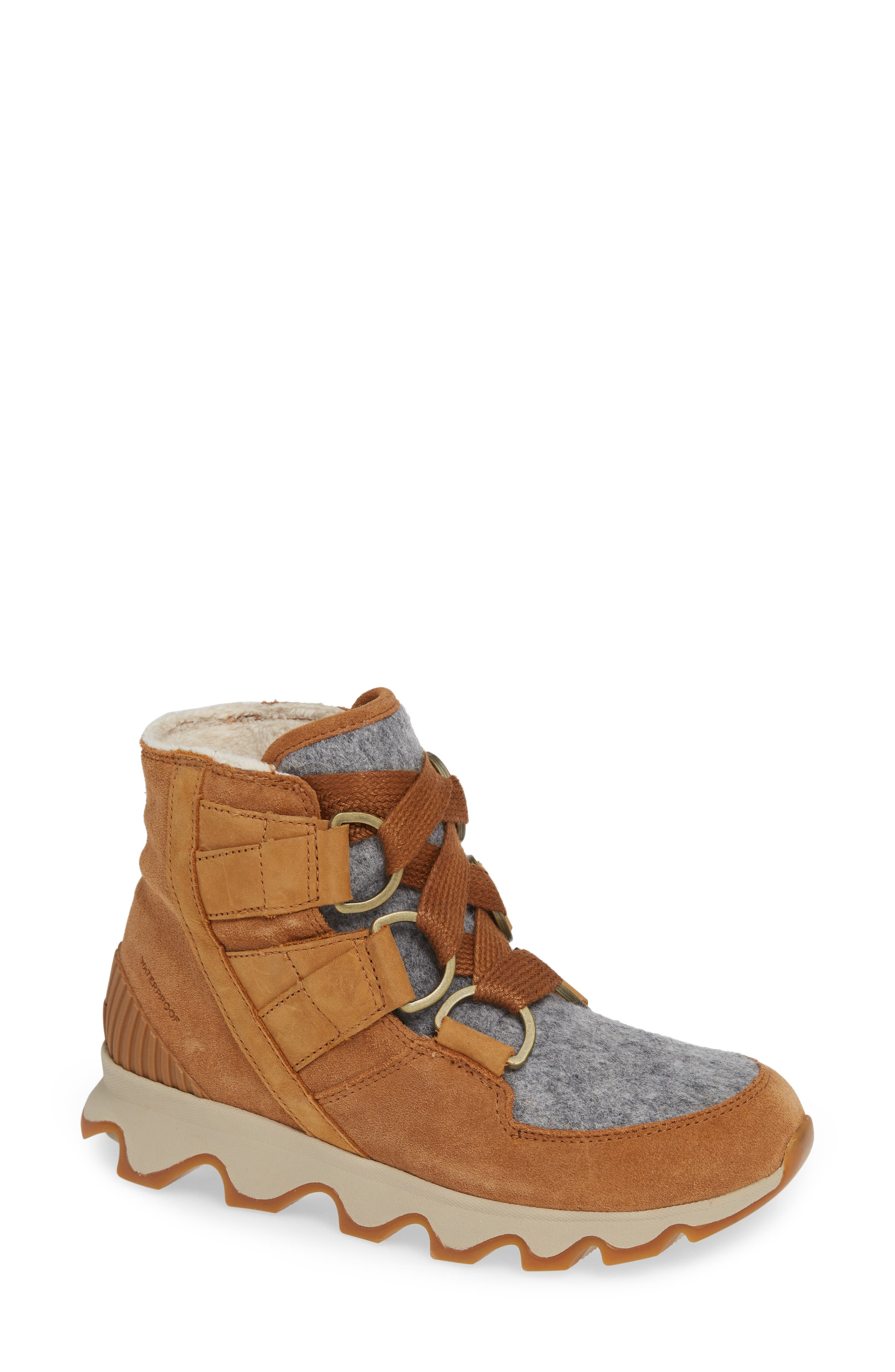 Kinetic Waterproof Short Lace-Up Boot,                             Main thumbnail 1, color,                             CAMEL BROWN