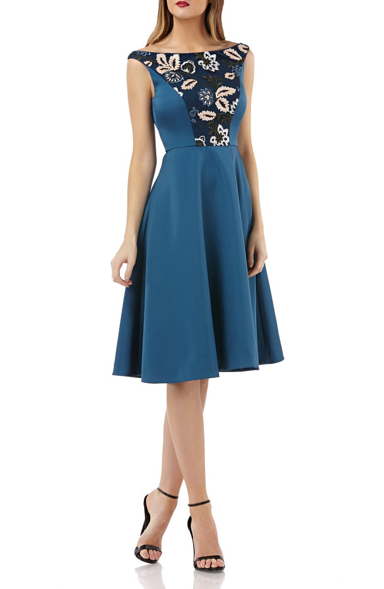 Kay Unger EMBROIDERED SEQUIN FIT & FLARE DRESS