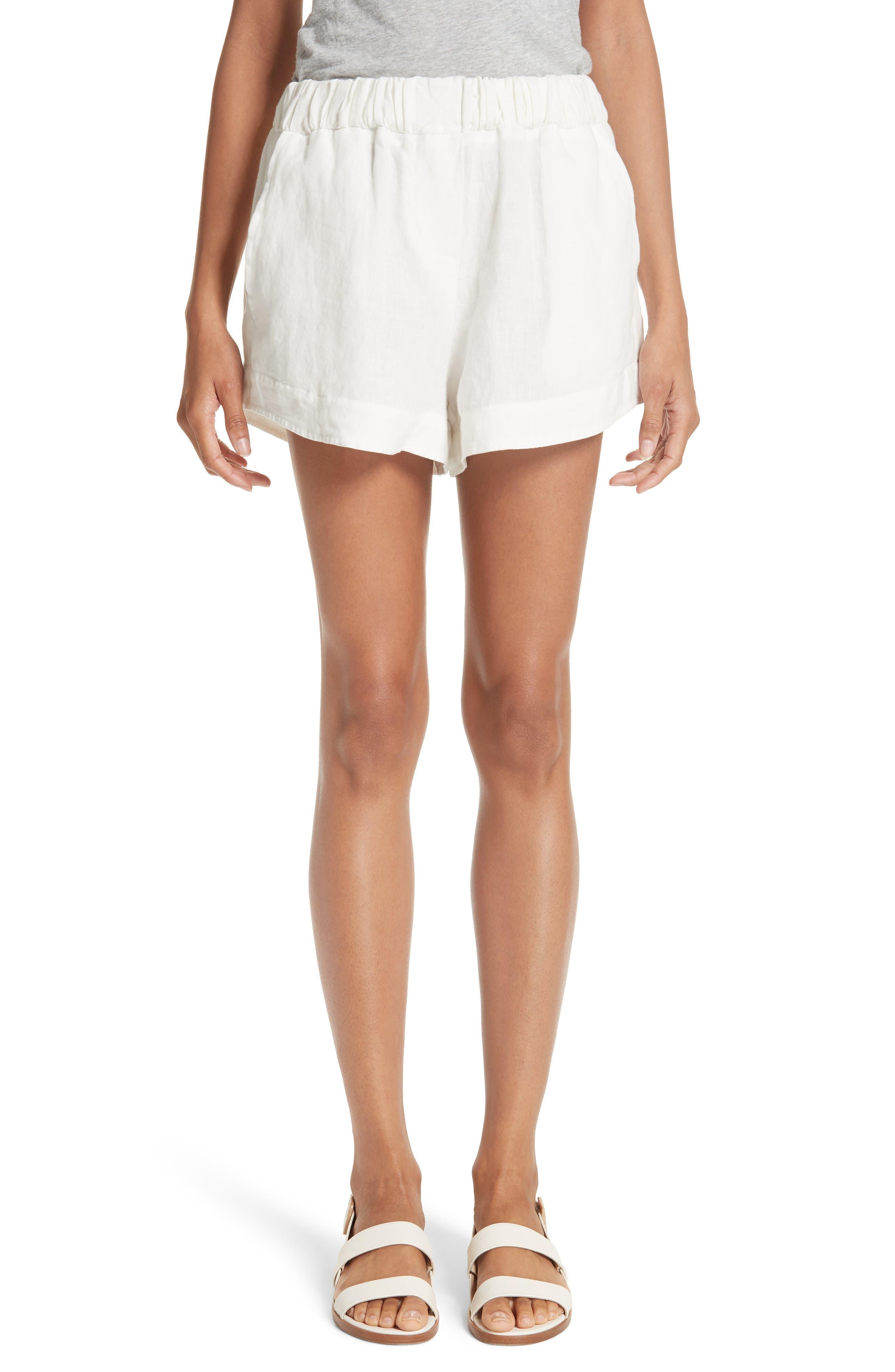 Nyssa Linen Shorts,                         Main,                         color, IVORY