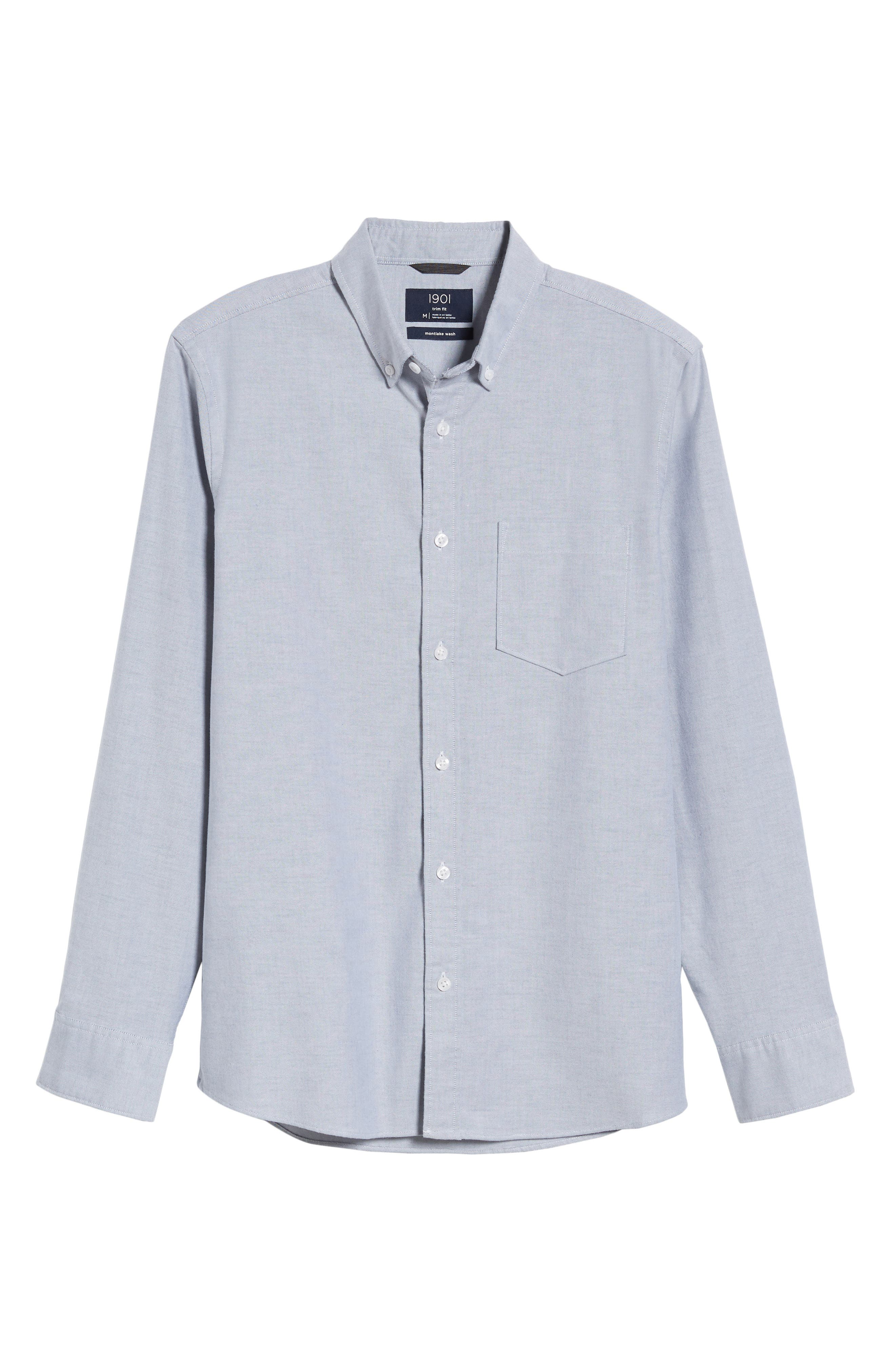 Trim Fit Washed Oxford Shirt,                             Alternate thumbnail 6, color,                             GREY MAGNET OXFORD