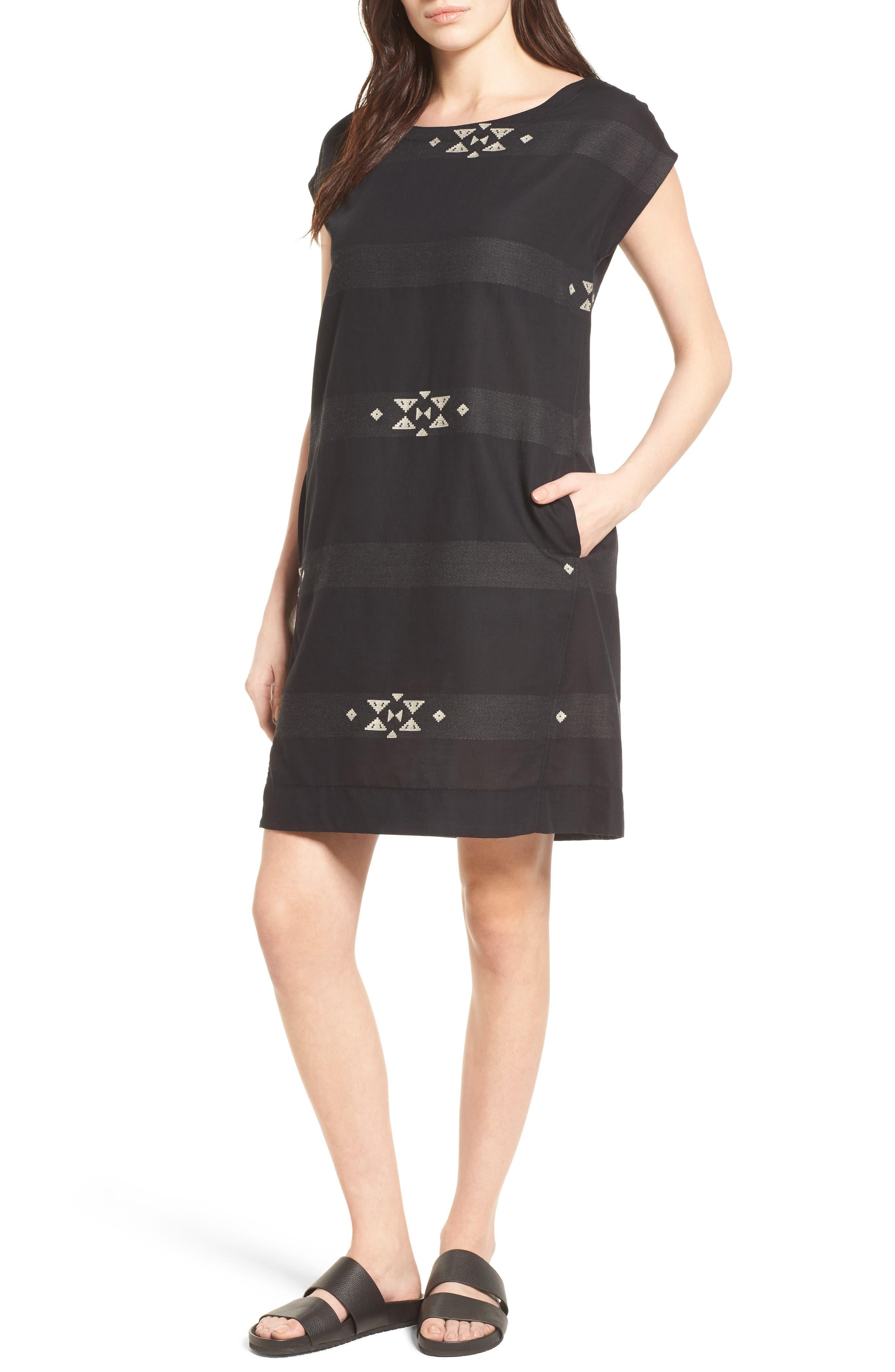 Cotton Jacquard Shirt Dress,                             Alternate thumbnail 5, color,                             001