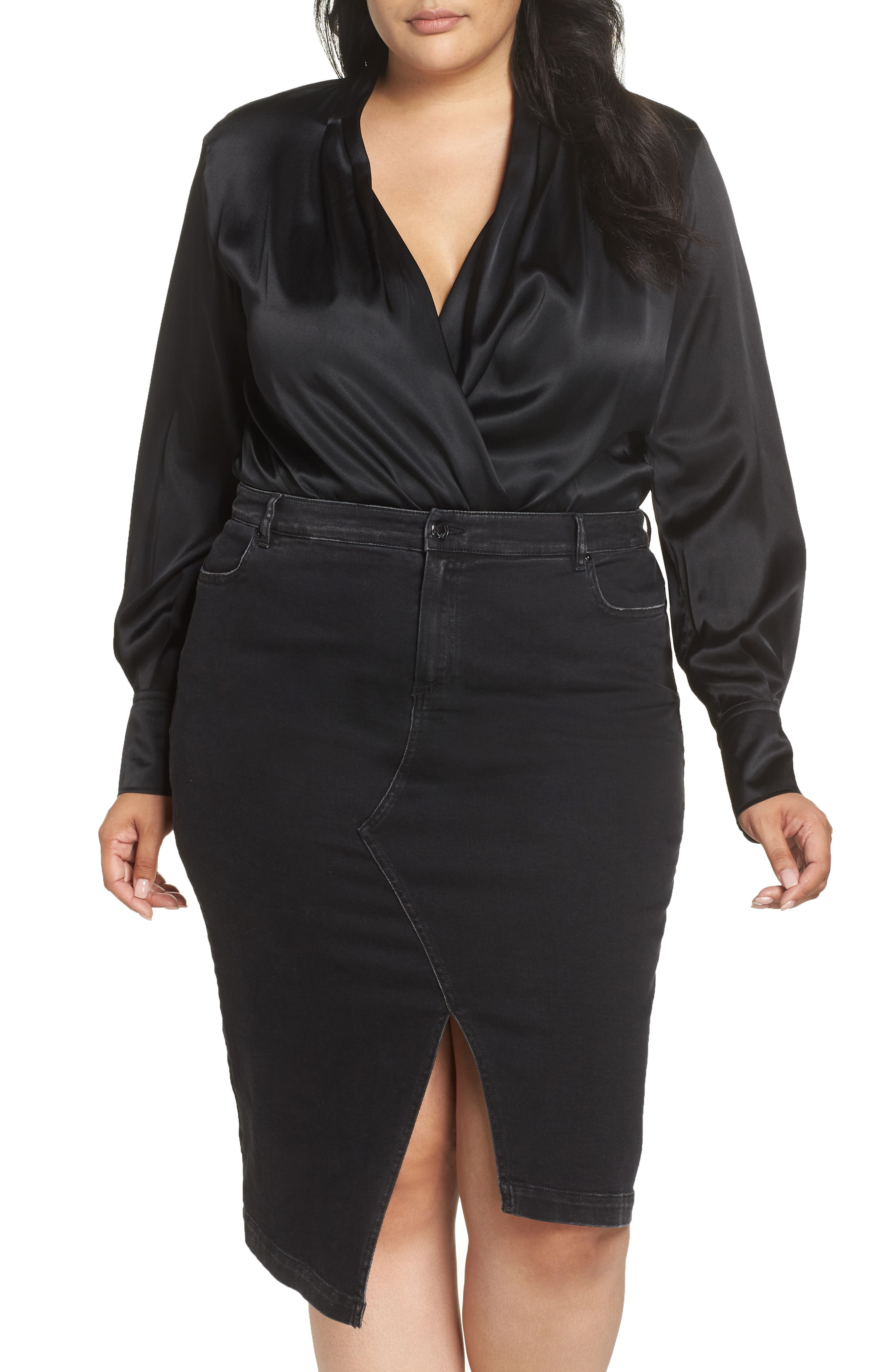 ASHLEY GRAHAM X MARINA RINALDI Bambola Bloused Bodysuit in Black 2
