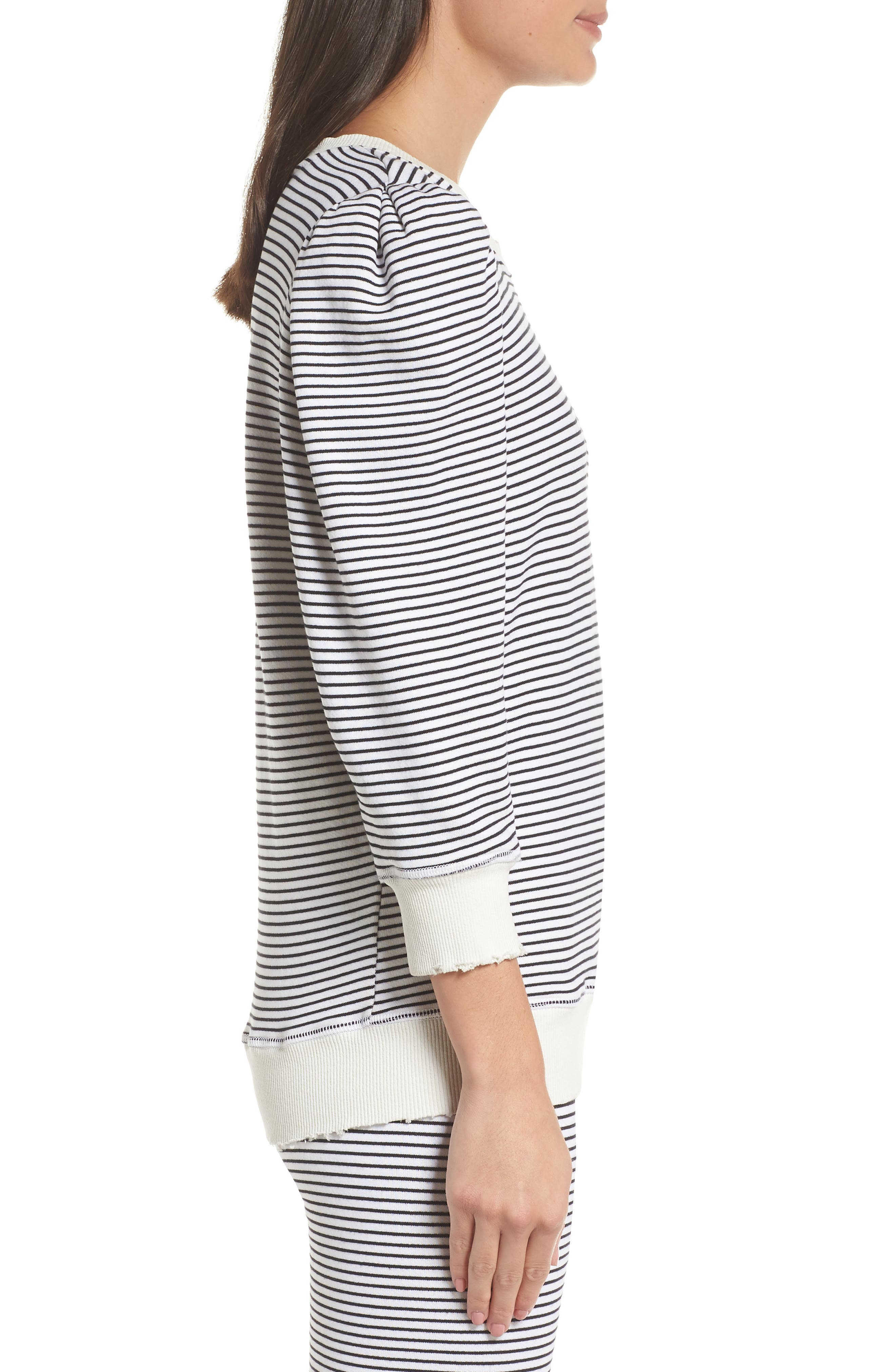 Leg of Mutton Sleeve Pullover,                             Alternate thumbnail 3, color,                             BLACK/ WHITE