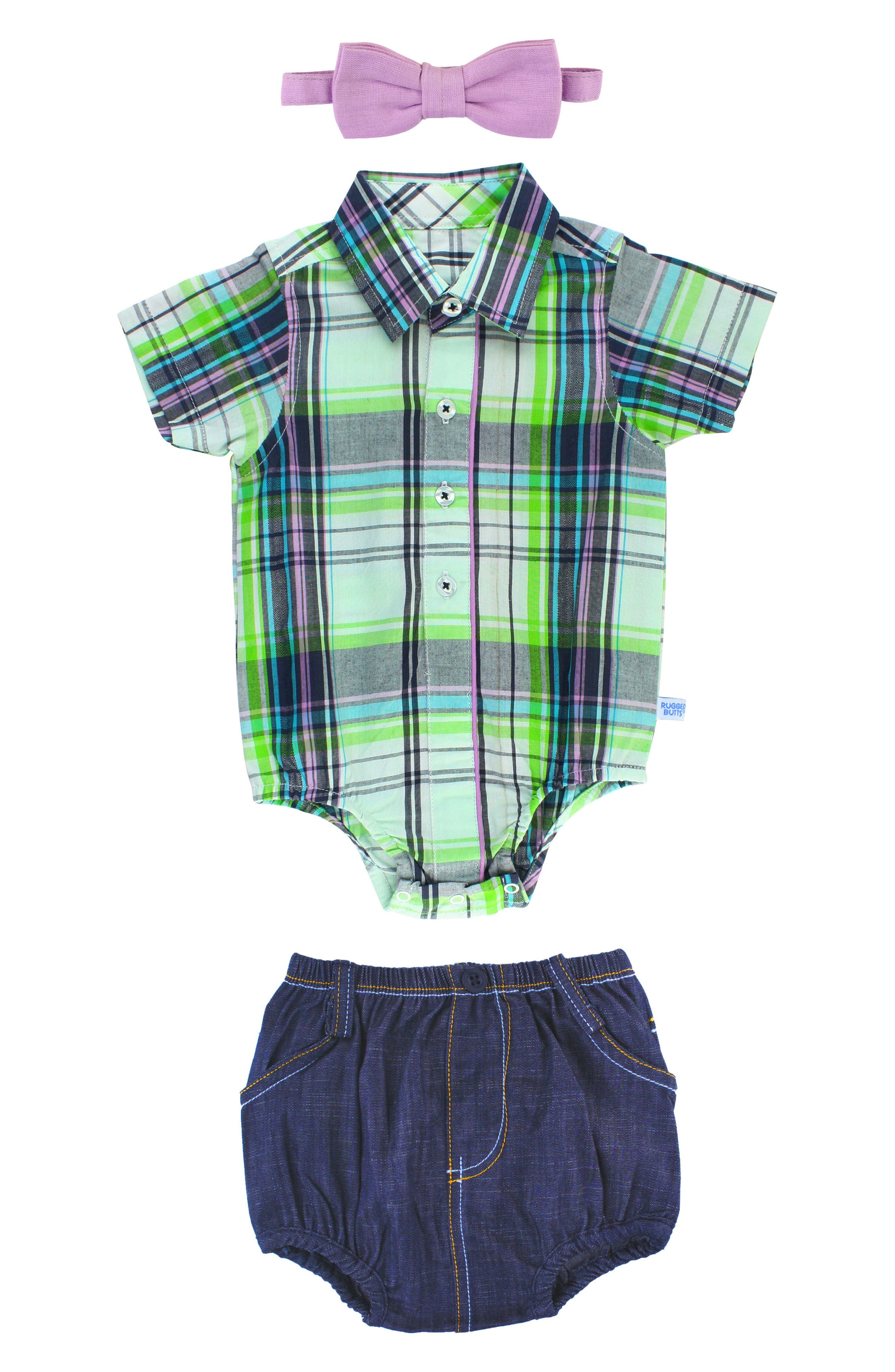 Christopher Plaid Bodysuit, Shorts & Bow Tie Set,                         Main,                         color, 110
