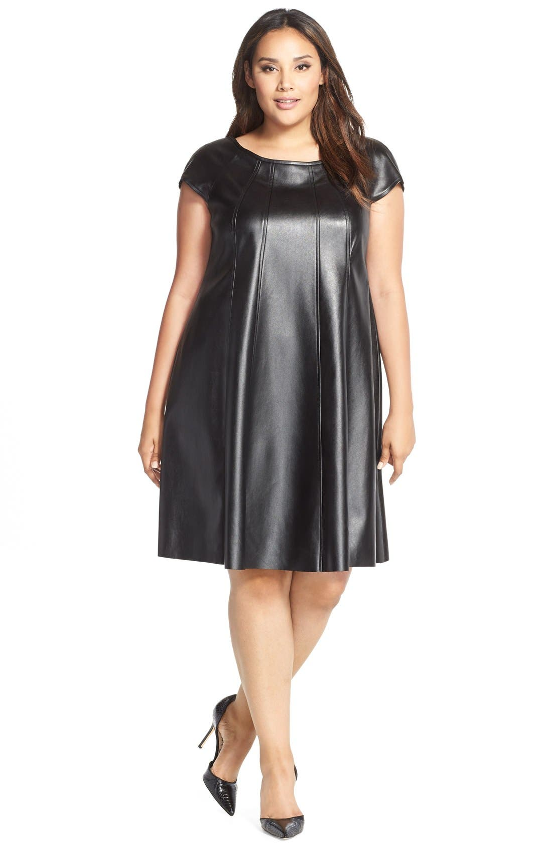 Faux Leather Trapeze Dress,                             Main thumbnail 1, color,