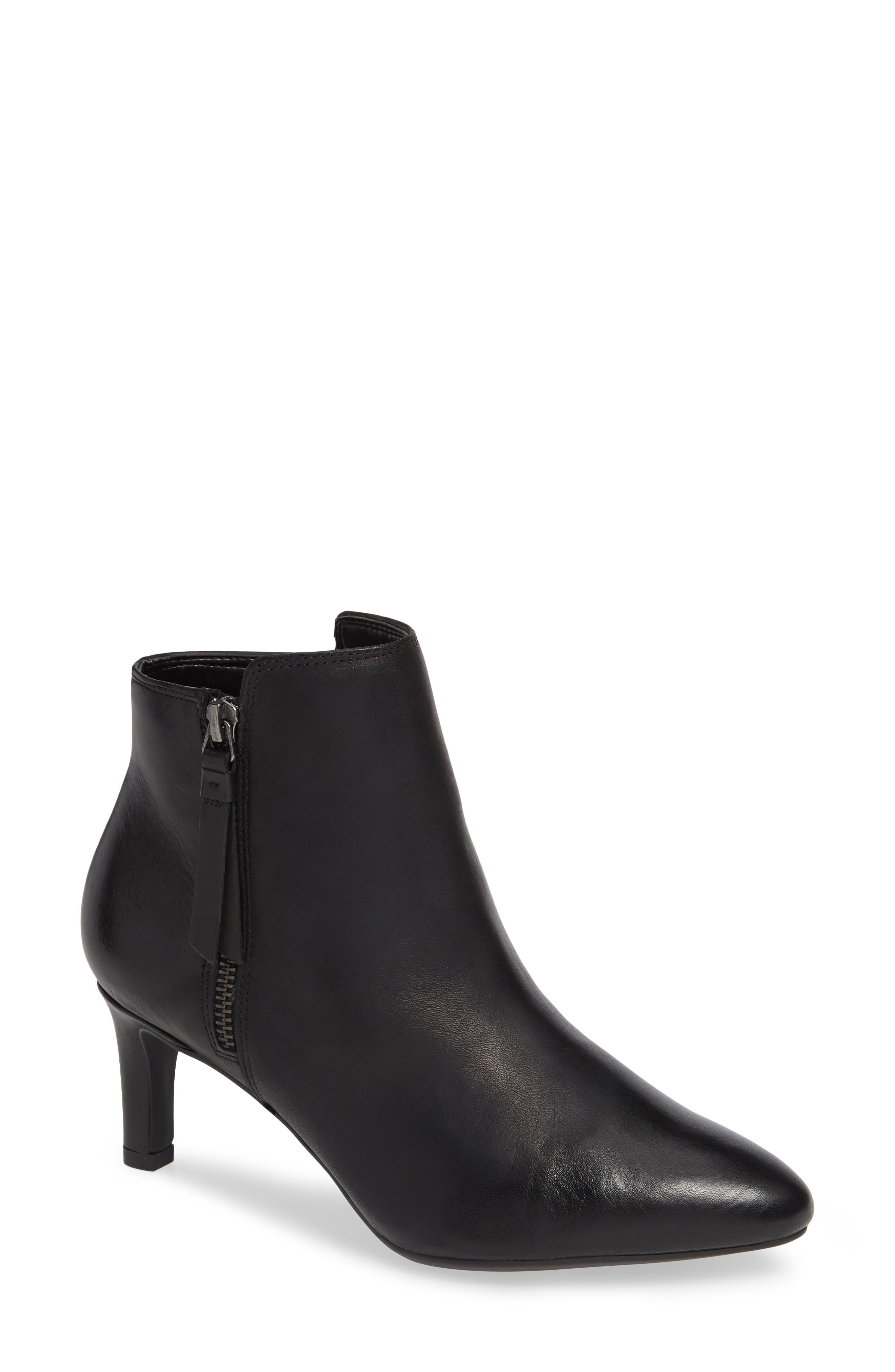 Calla Blossom Bootie,                             Main thumbnail 1, color,                             BLACK LEATHER