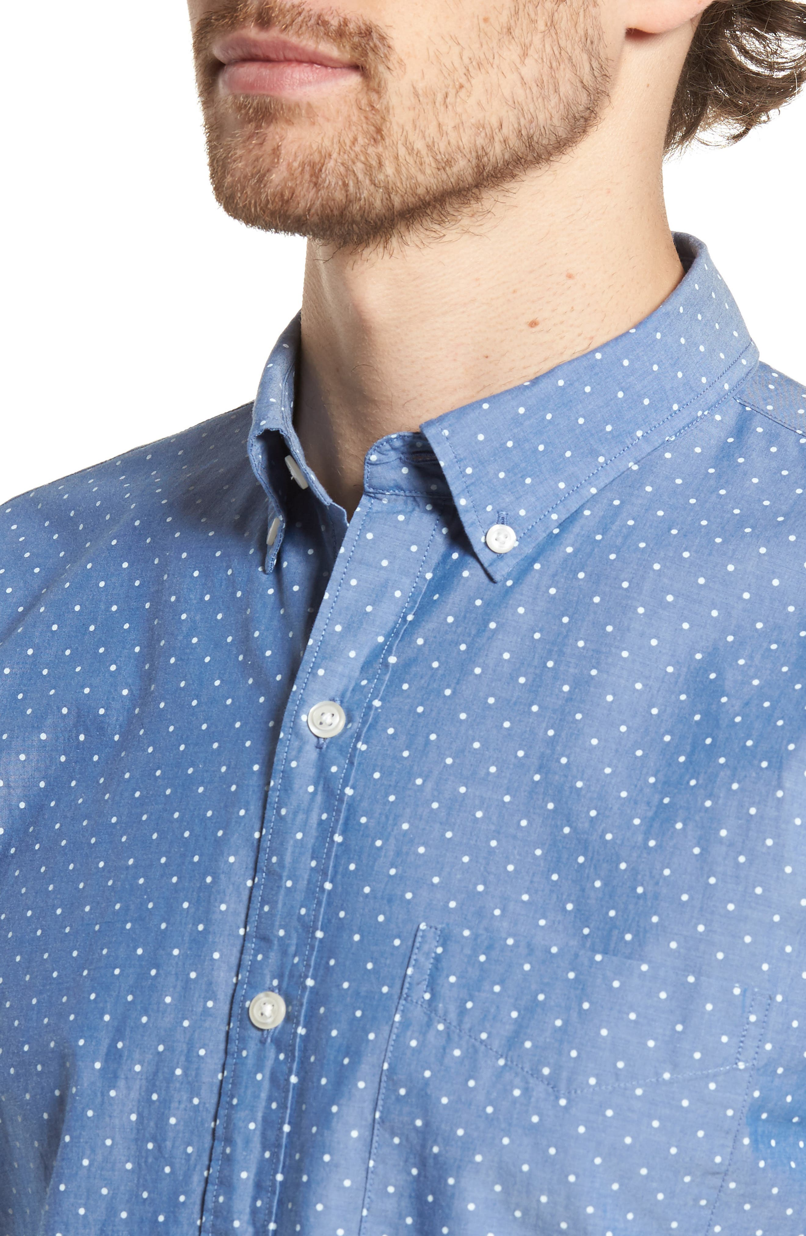 Slim Fit Summerweight Dot Sport Shirt,                             Alternate thumbnail 4, color,