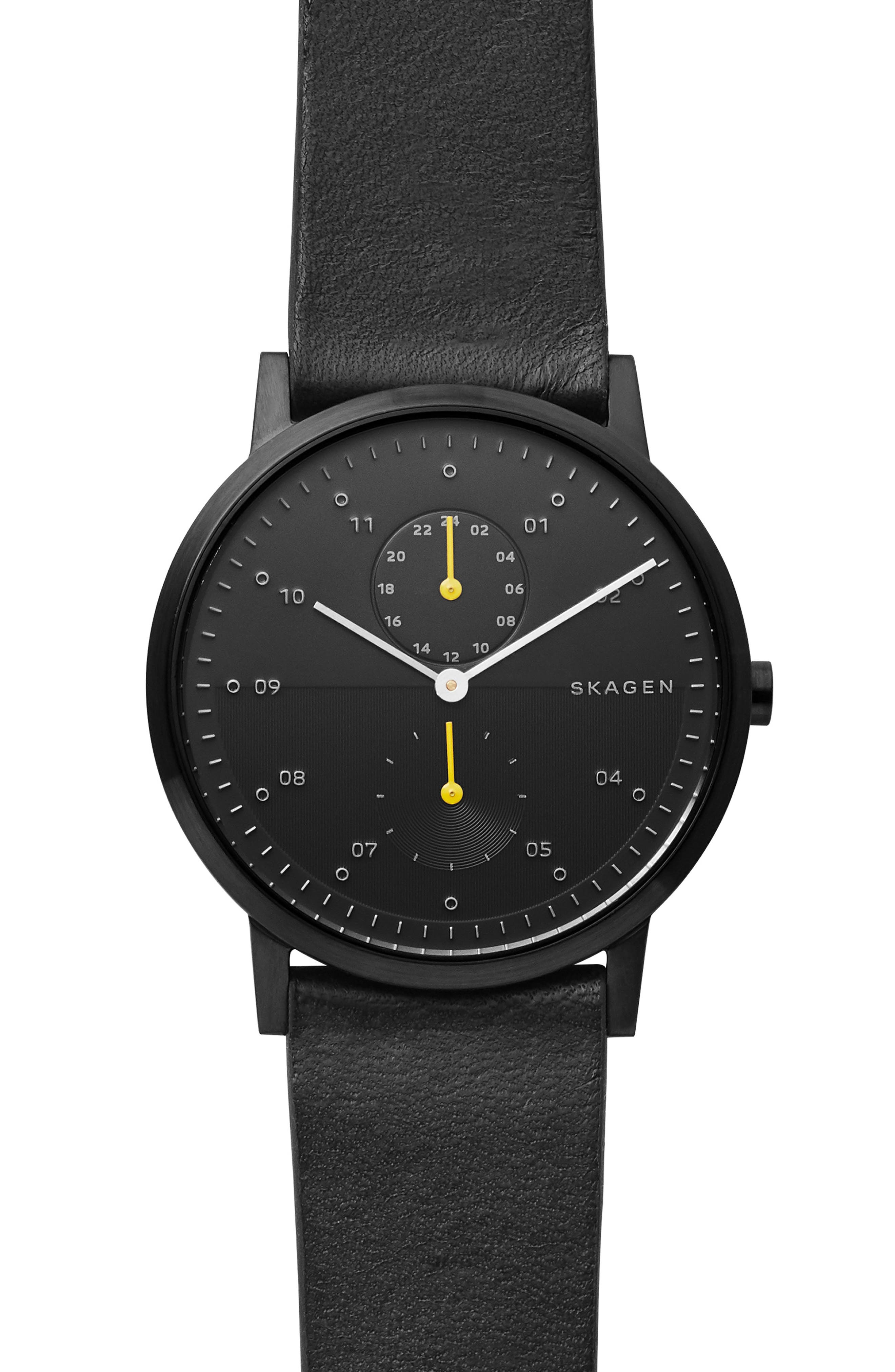 Designs Kristoffer Multifunction Leather Strap Watch, 42mm, Main, color, 001