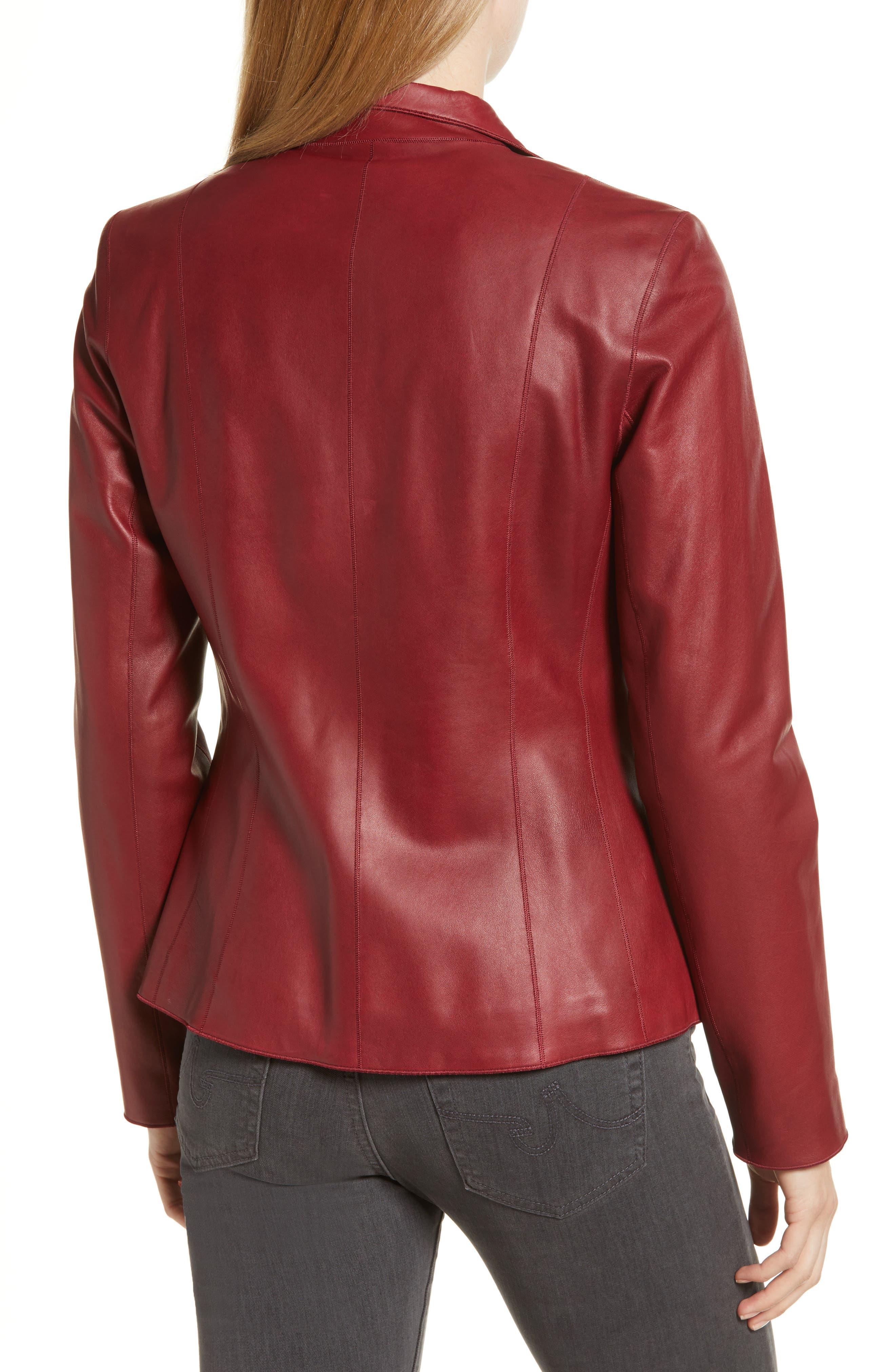 Lambskin Leather Scuba Jacket,                             Alternate thumbnail 2, color,                             RED
