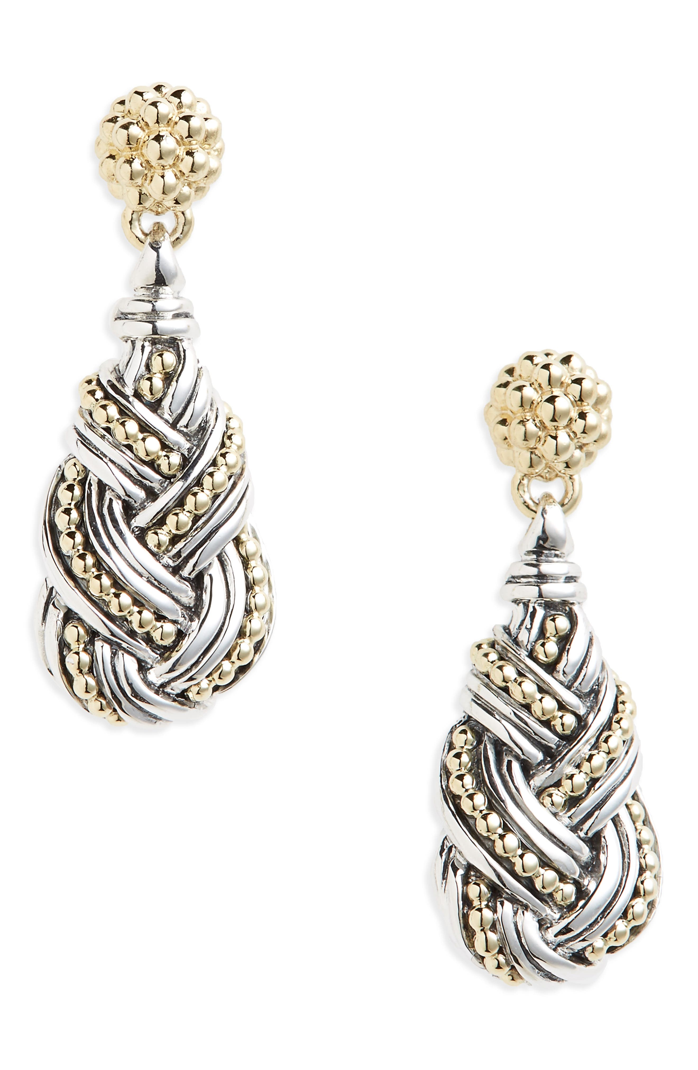 Torsade Drop Earrings,                         Main,                         color, SILVER/ GOLD