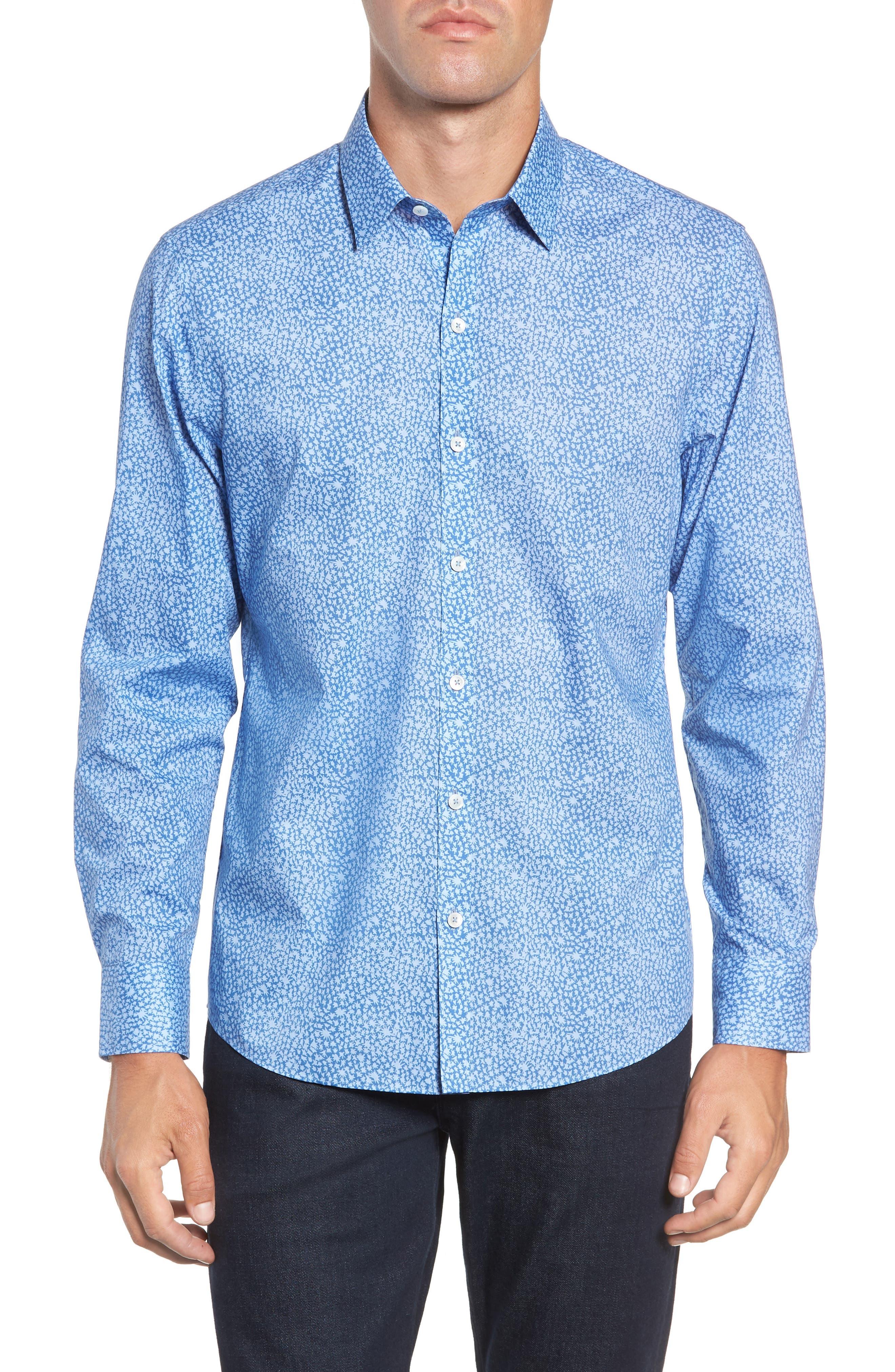 ZACHARY PRELL,                             Elliot Regular Fit Sport Shirt,                             Main thumbnail 1, color,                             OCEAN