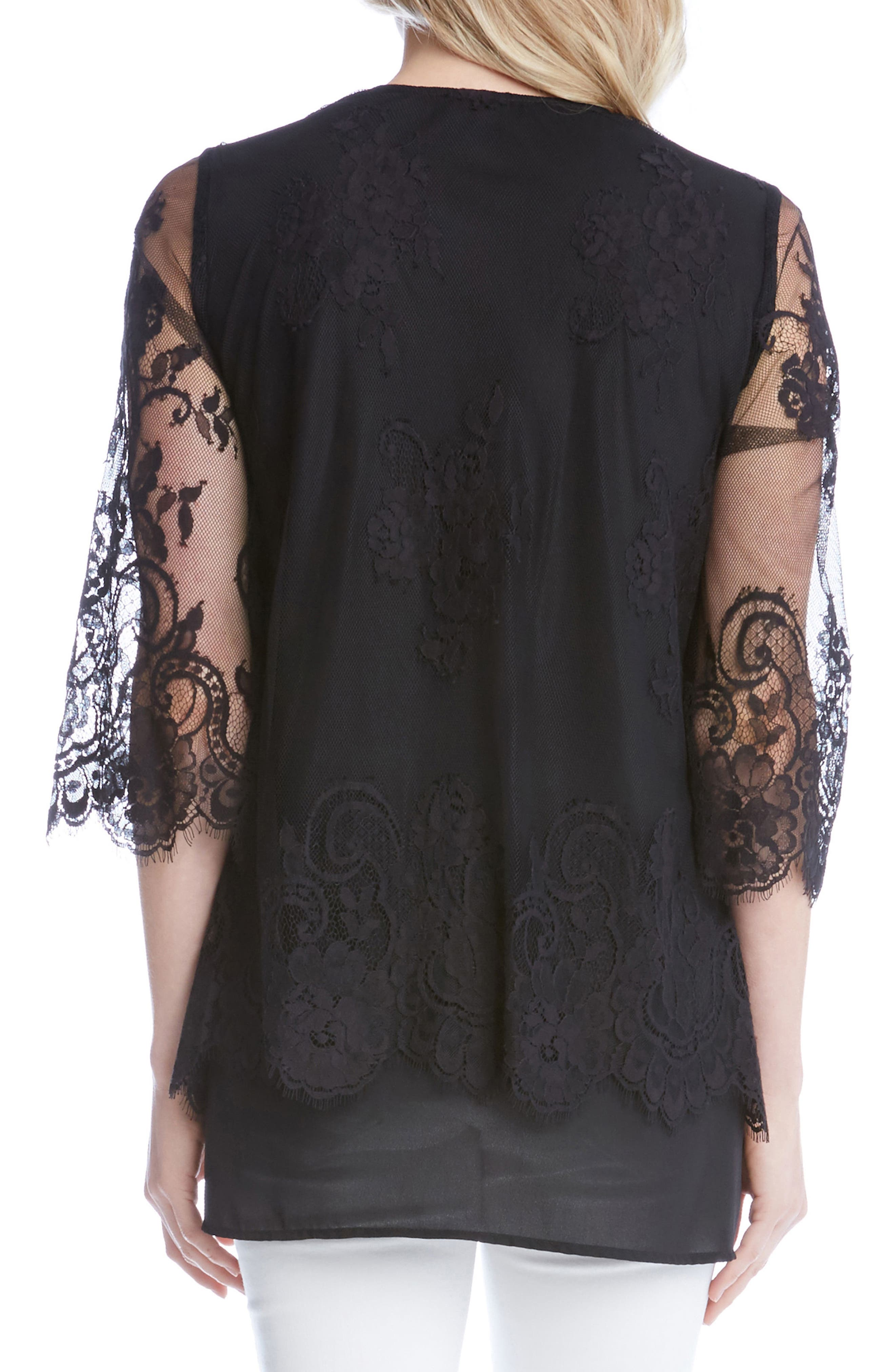Lace Overlay Asymmetrical Top,                             Alternate thumbnail 2, color,                             001