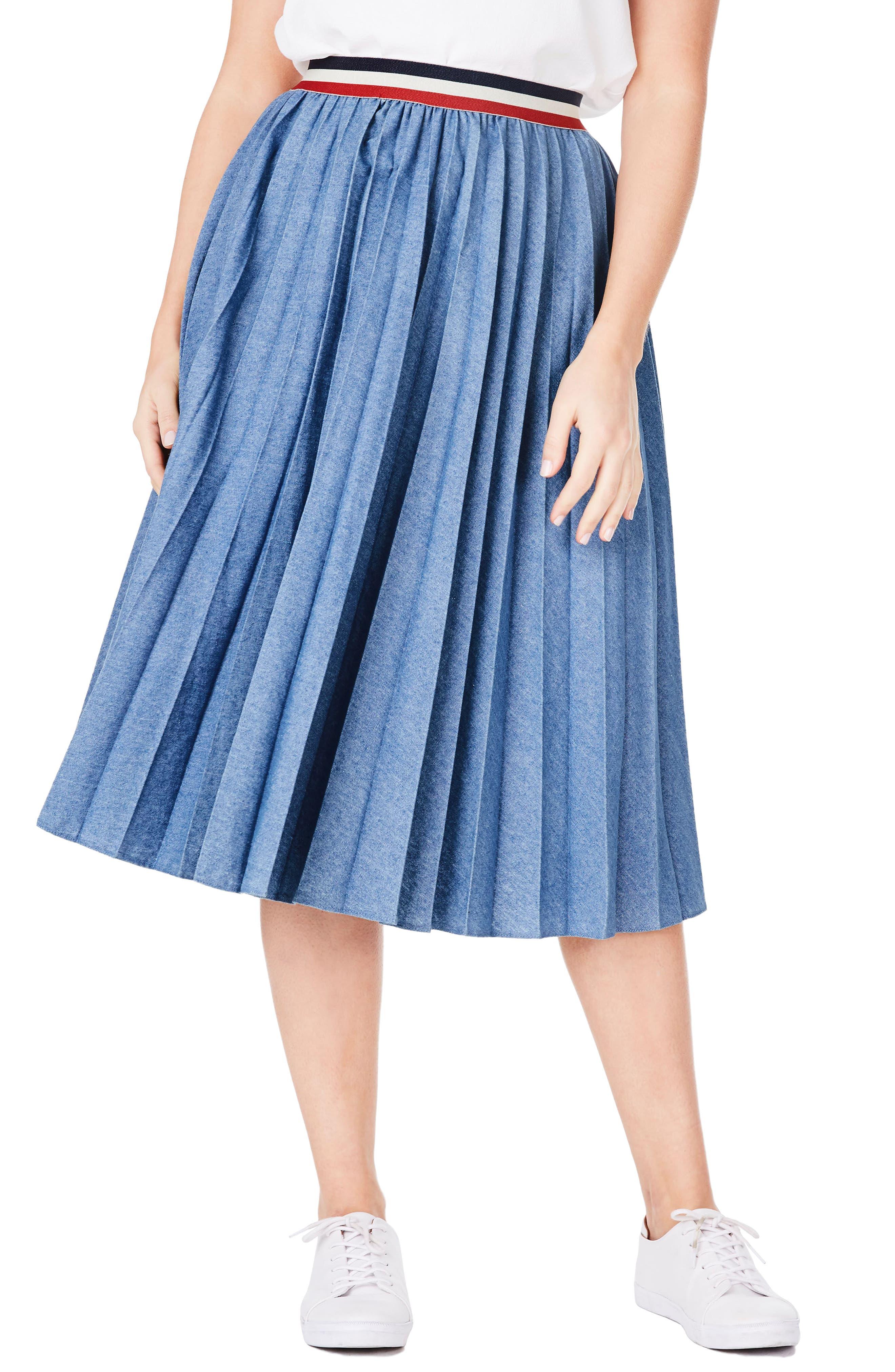 Pleat Denim Skirt,                             Main thumbnail 1, color,                             400