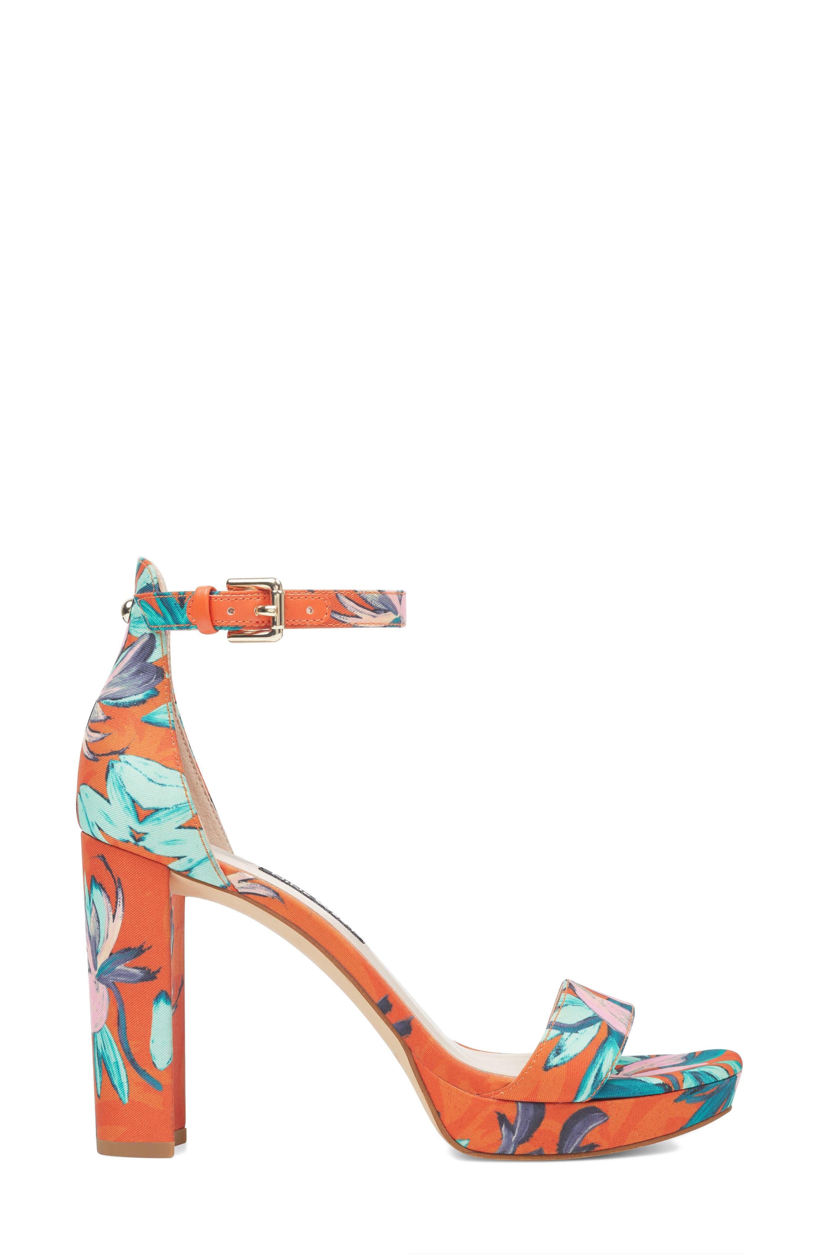 Dempsey Platform Sandal,                             Alternate thumbnail 3, color,                             ORANGE MULTI FABRIC