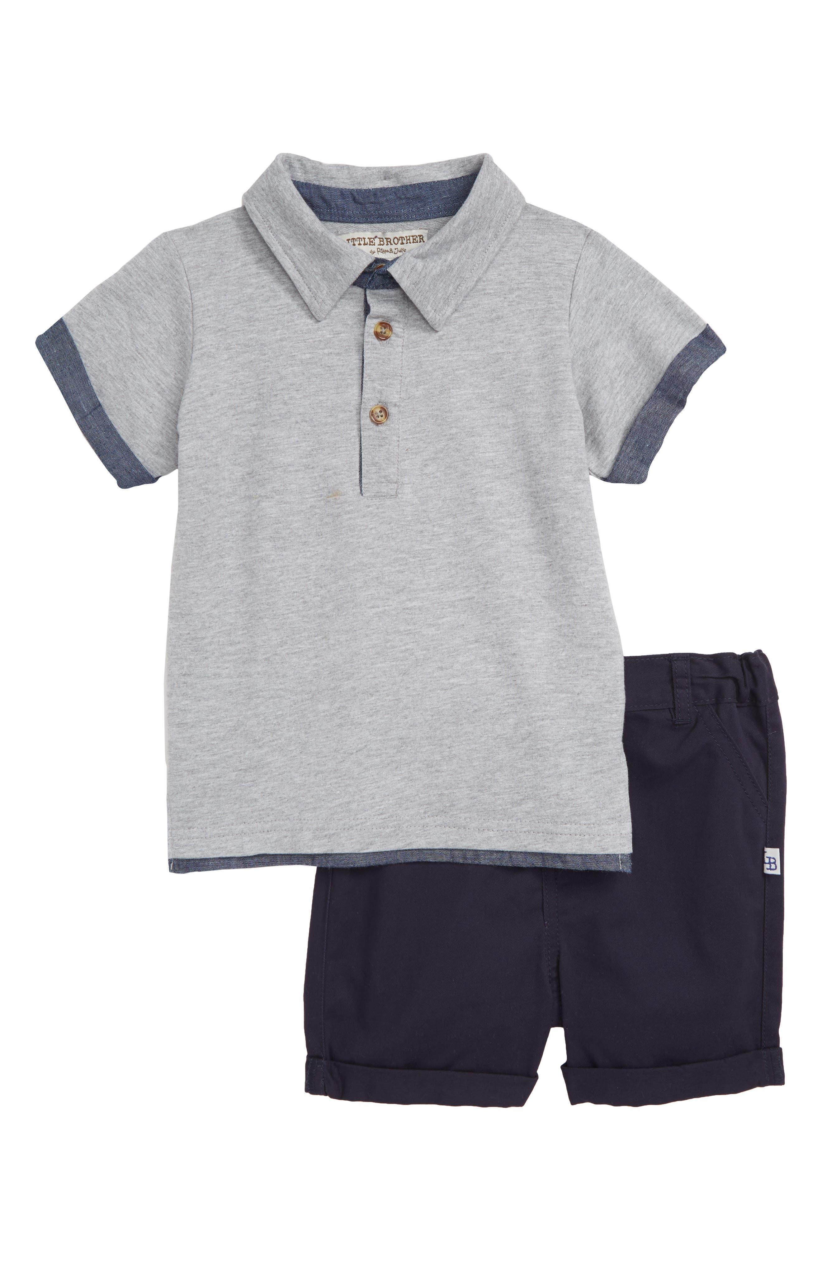 Polo & Shorts Set,                             Main thumbnail 1, color,                             GREY