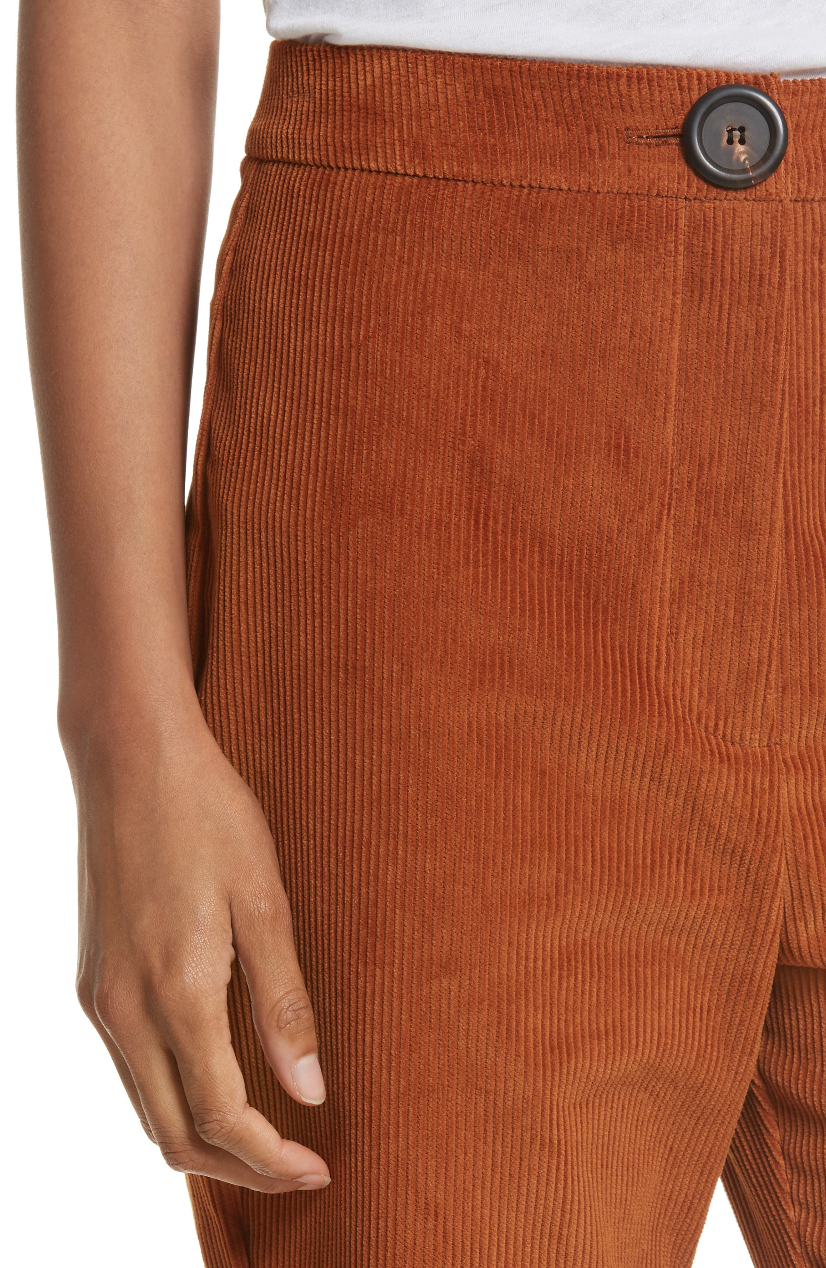 Crop Flare Corduroy Trousers,                             Alternate thumbnail 4, color,                             200