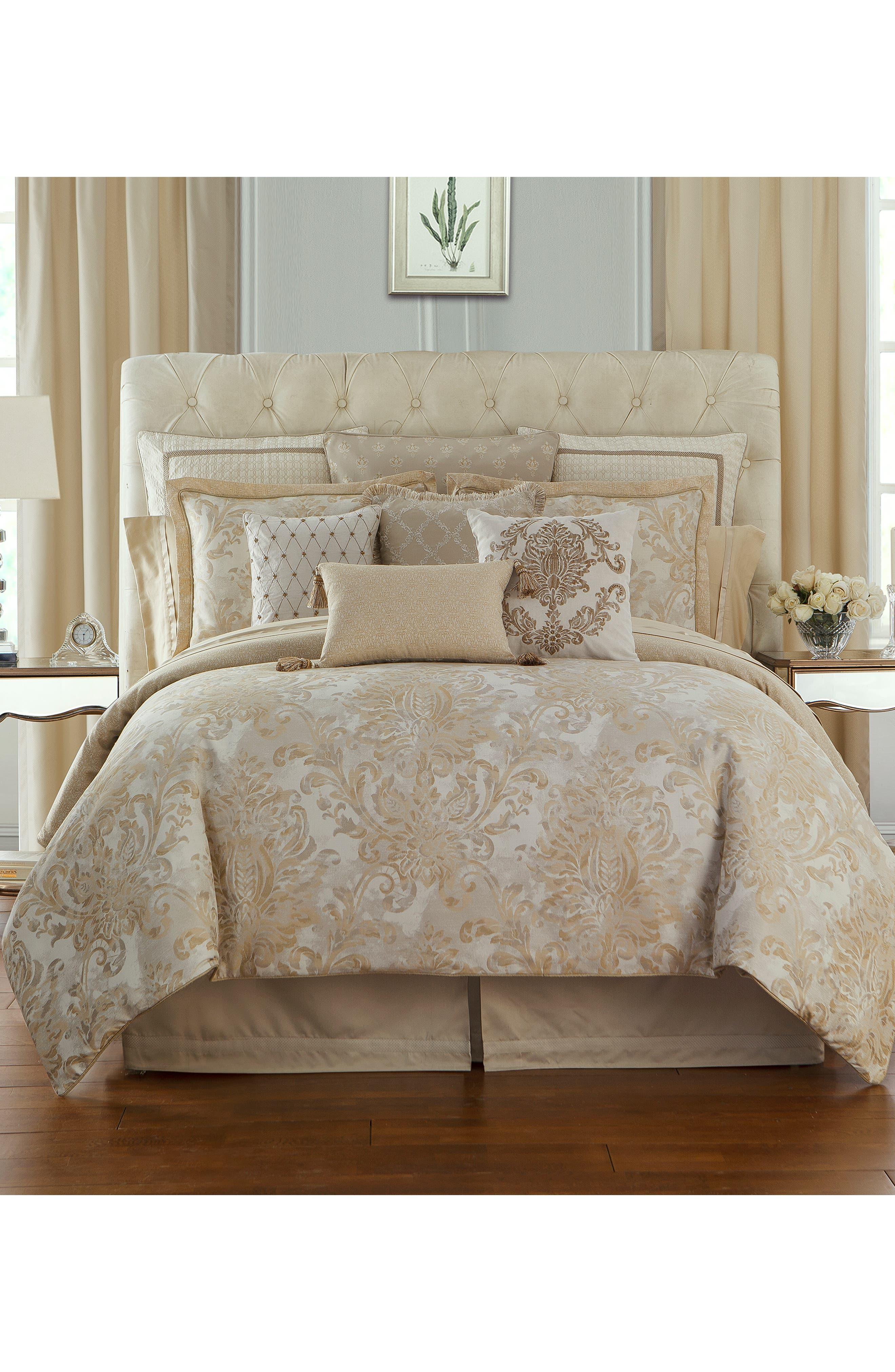 Annalise Reversible Comforter, Sham & Bed Skirt Set,                             Main thumbnail 1, color,                             GOLD