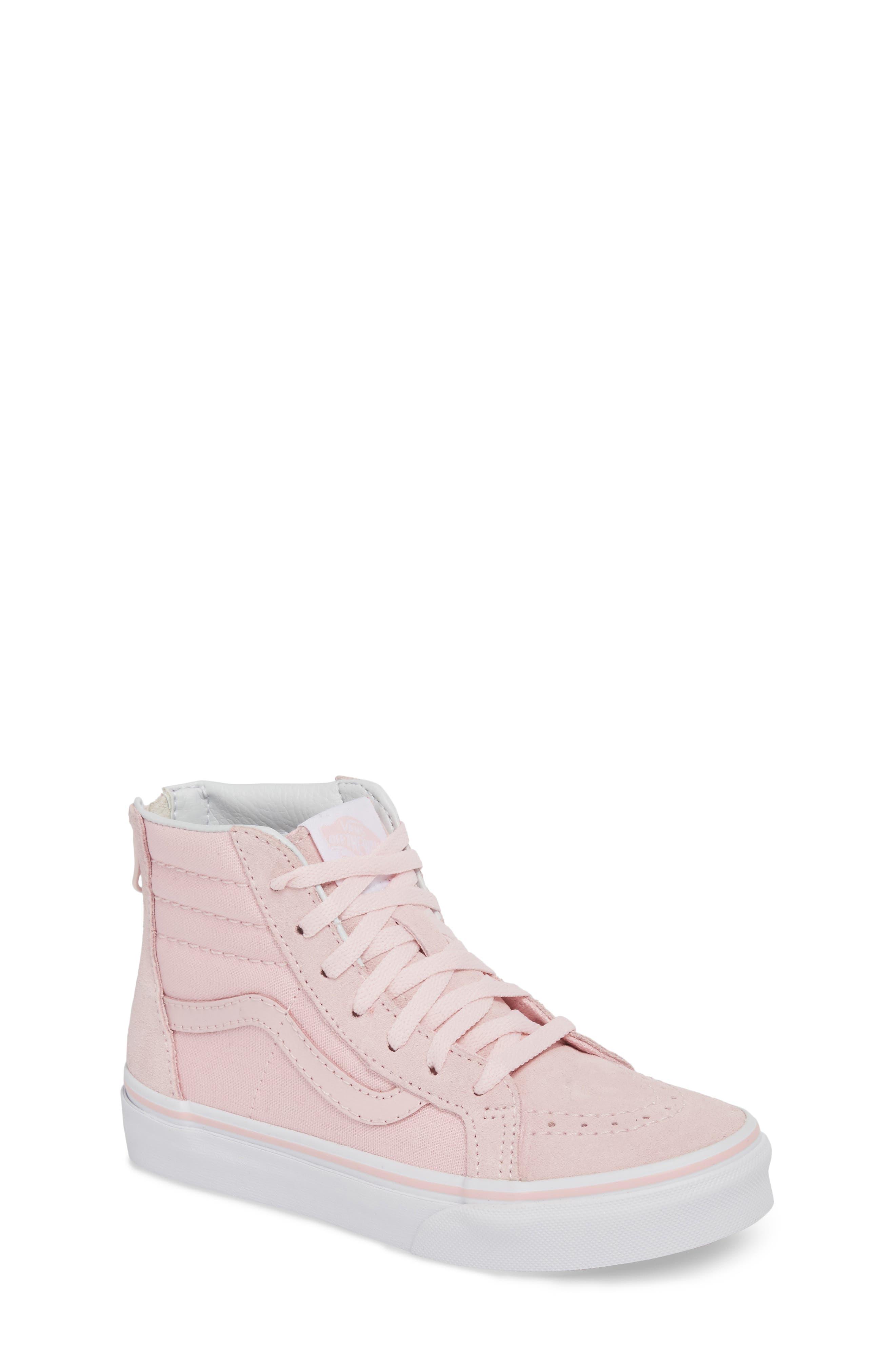 Sk8-Hi Zip Sneaker,                         Main,                         color, CHALK PINK/ TRUE WHITE