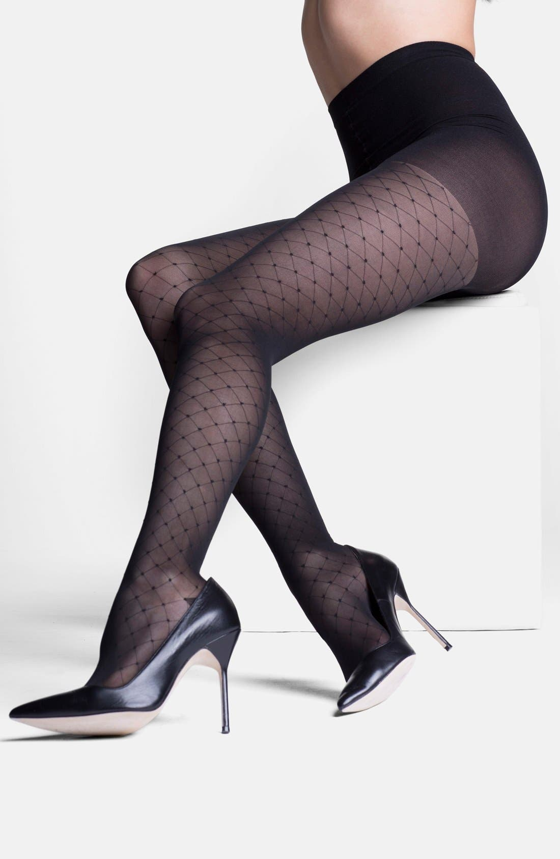 'Starlet' Diamond Pattern Compression Pantyhose,                             Alternate thumbnail 6, color,                             BLACK