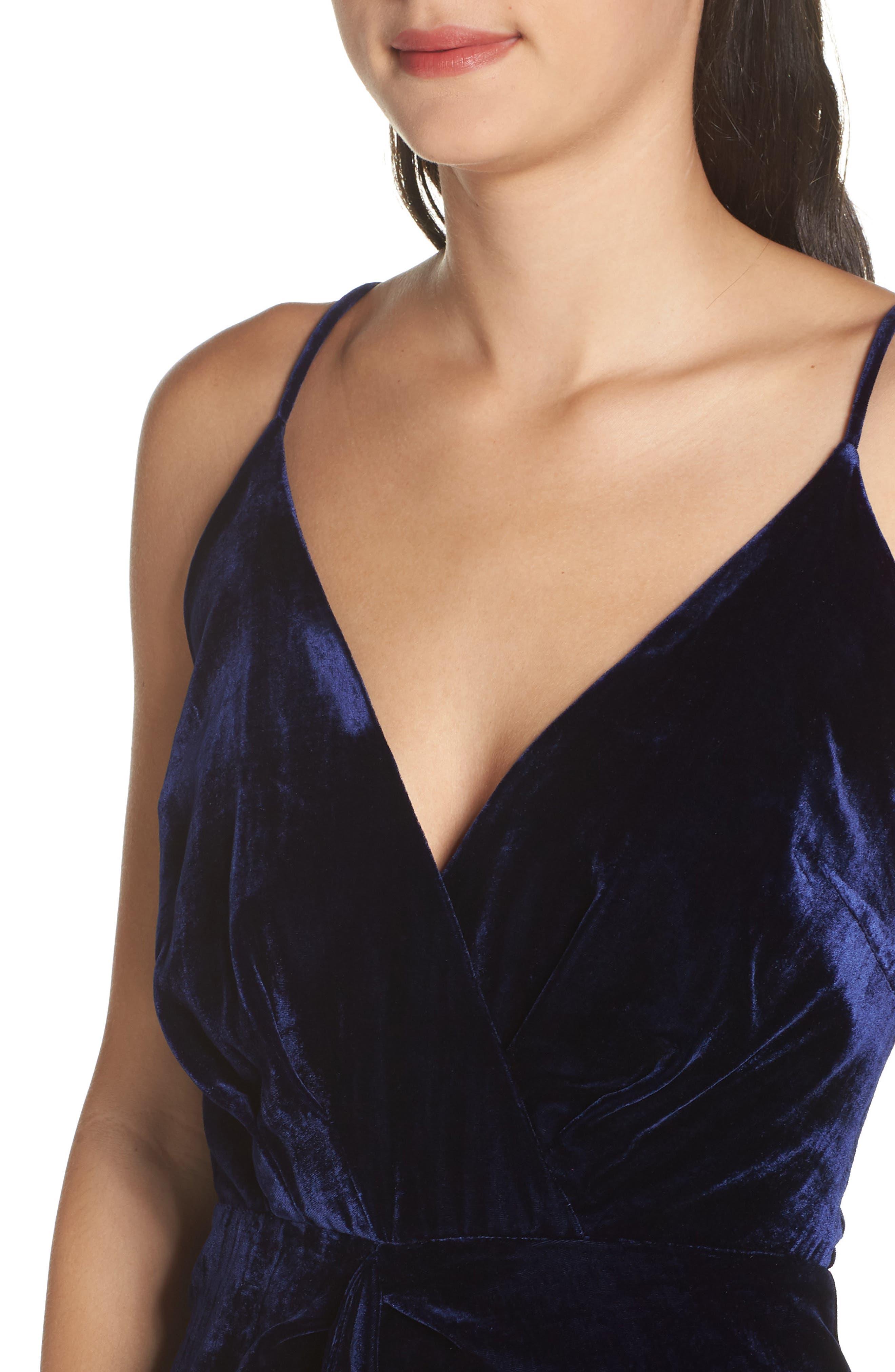 Drape Midi Dress,                             Alternate thumbnail 4, color,                             MIDNIGHT BLUE