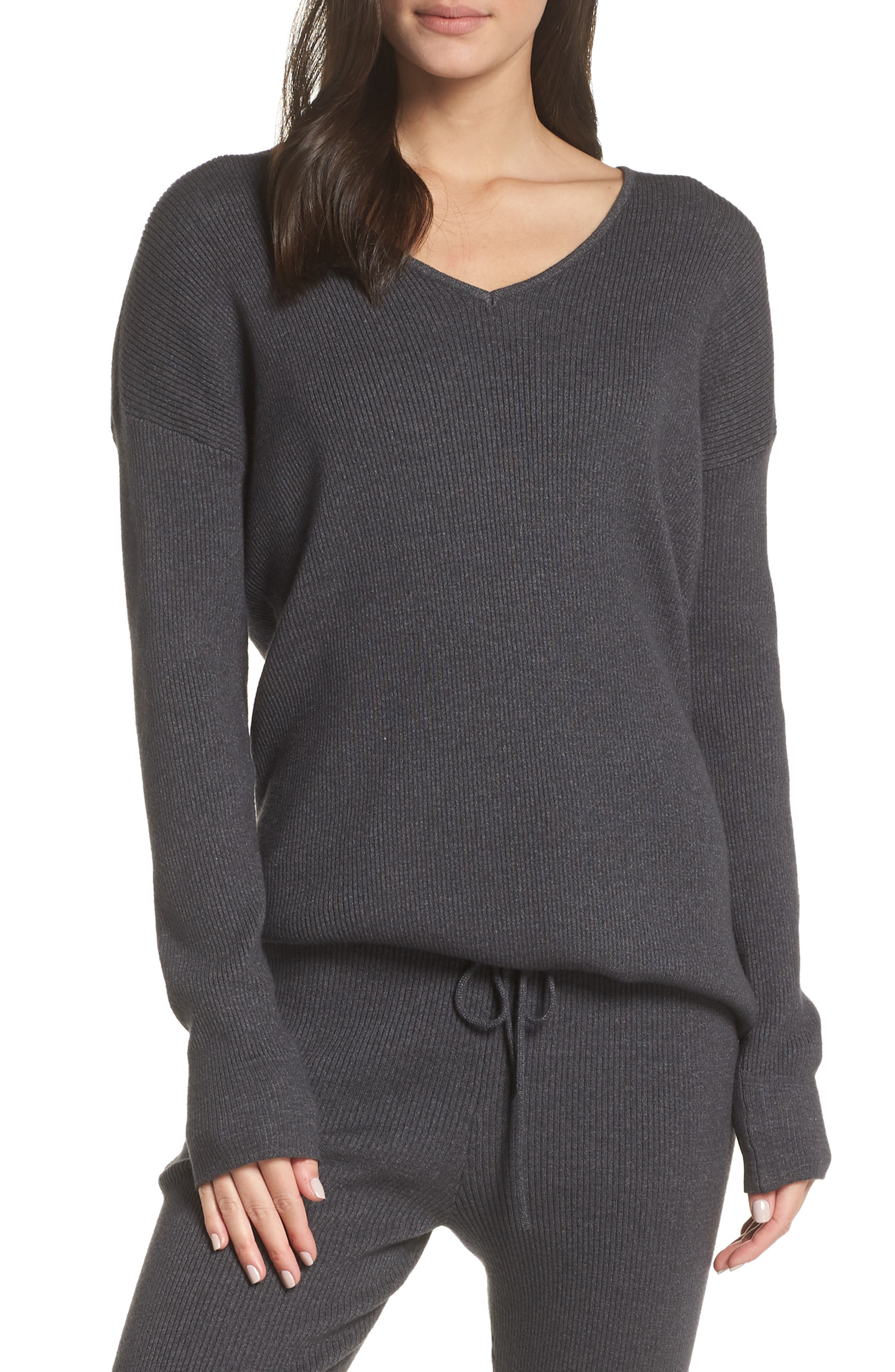 Rib Knit Pullover,                         Main,                         color, GREY MED CHARCOAL HEATHER