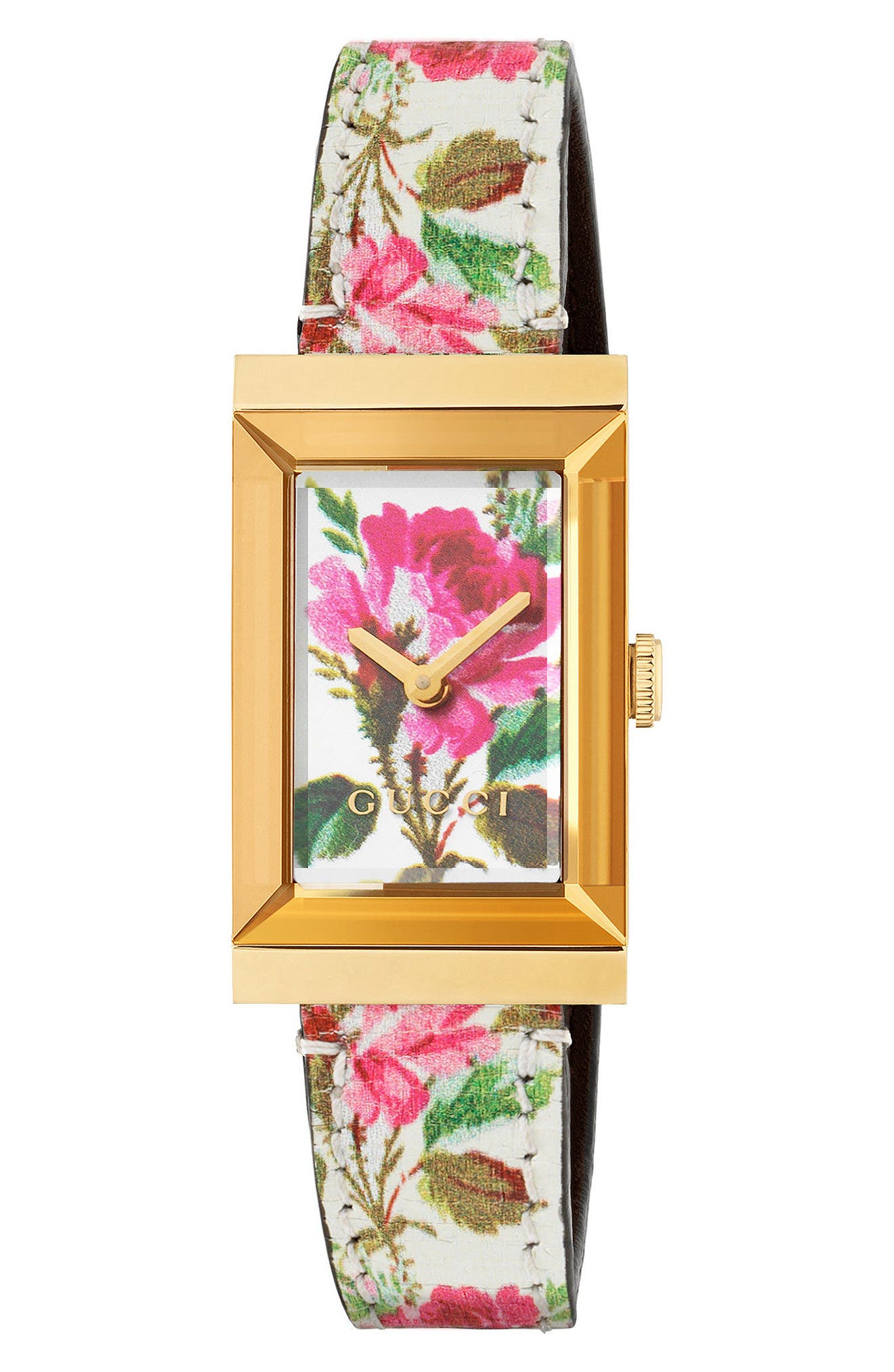 GUCCI,                             G-Frame Leather Strap Watch, 21mm x 34mm,                             Main thumbnail 1, color,                             WHITE/ FLORAL/ GOLD
