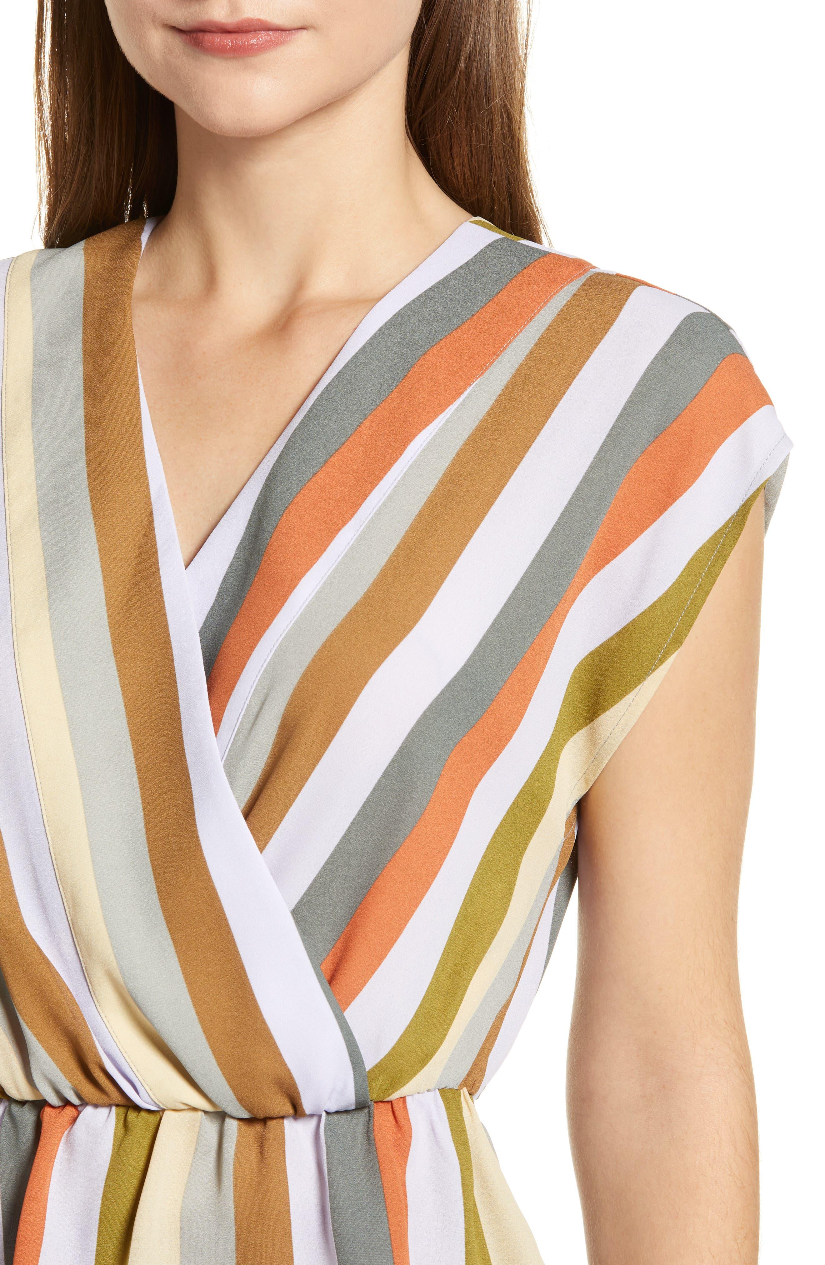 LEITH,                             Wrap Style Blouse,                             Alternate thumbnail 4, color,                             PURPLE FROST MULTI STRIPE