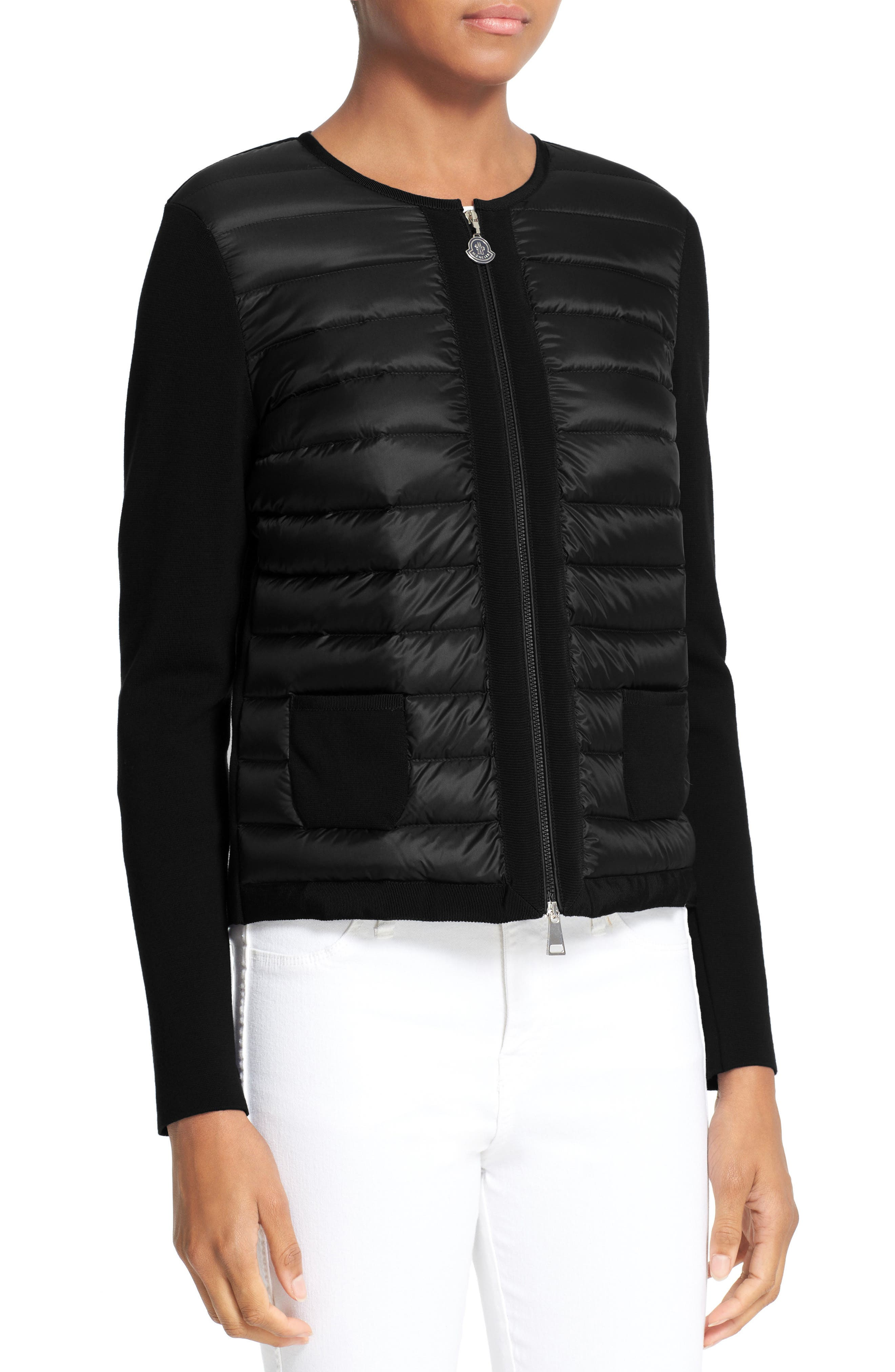 MONCLER,                             Maglia Quilted Down Front Tricot Cardigan,                             Alternate thumbnail 4, color,                             001