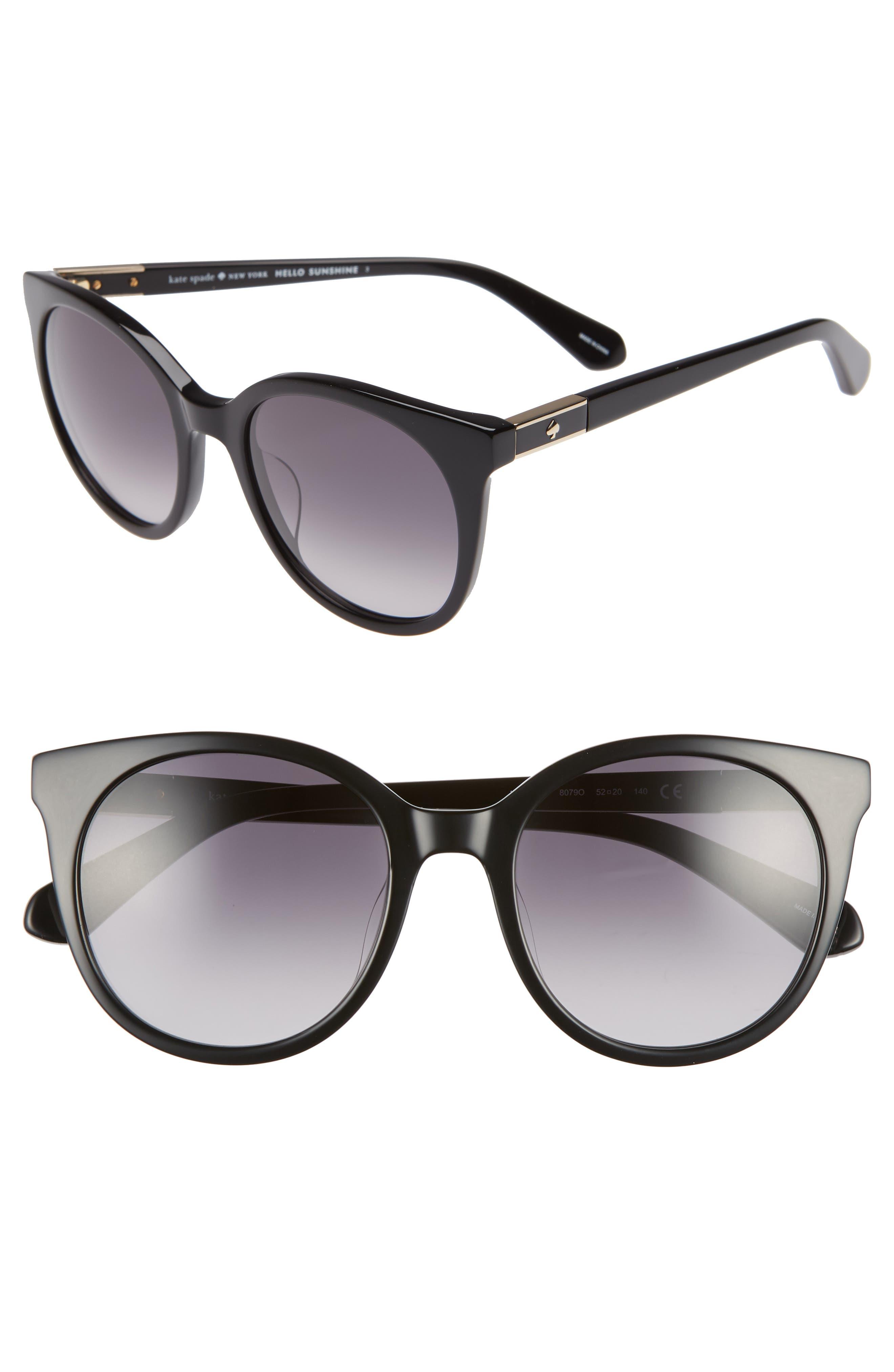 akayla 52mm cat eye sunglasses,                             Main thumbnail 1, color,                             BLACK