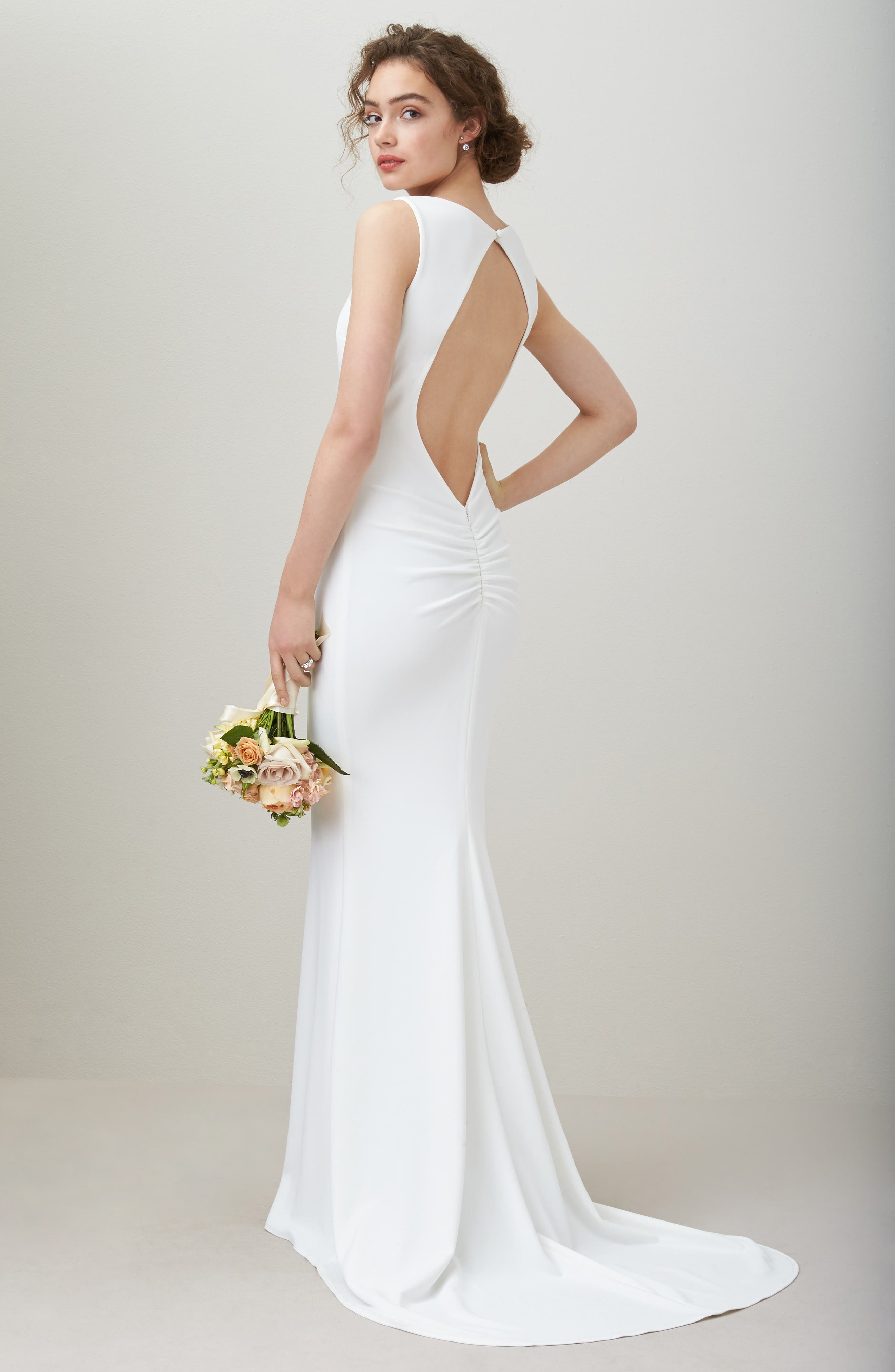 Theo Low Back Crepe Mermaid Gown,                             Alternate thumbnail 10, color,                             IVORY