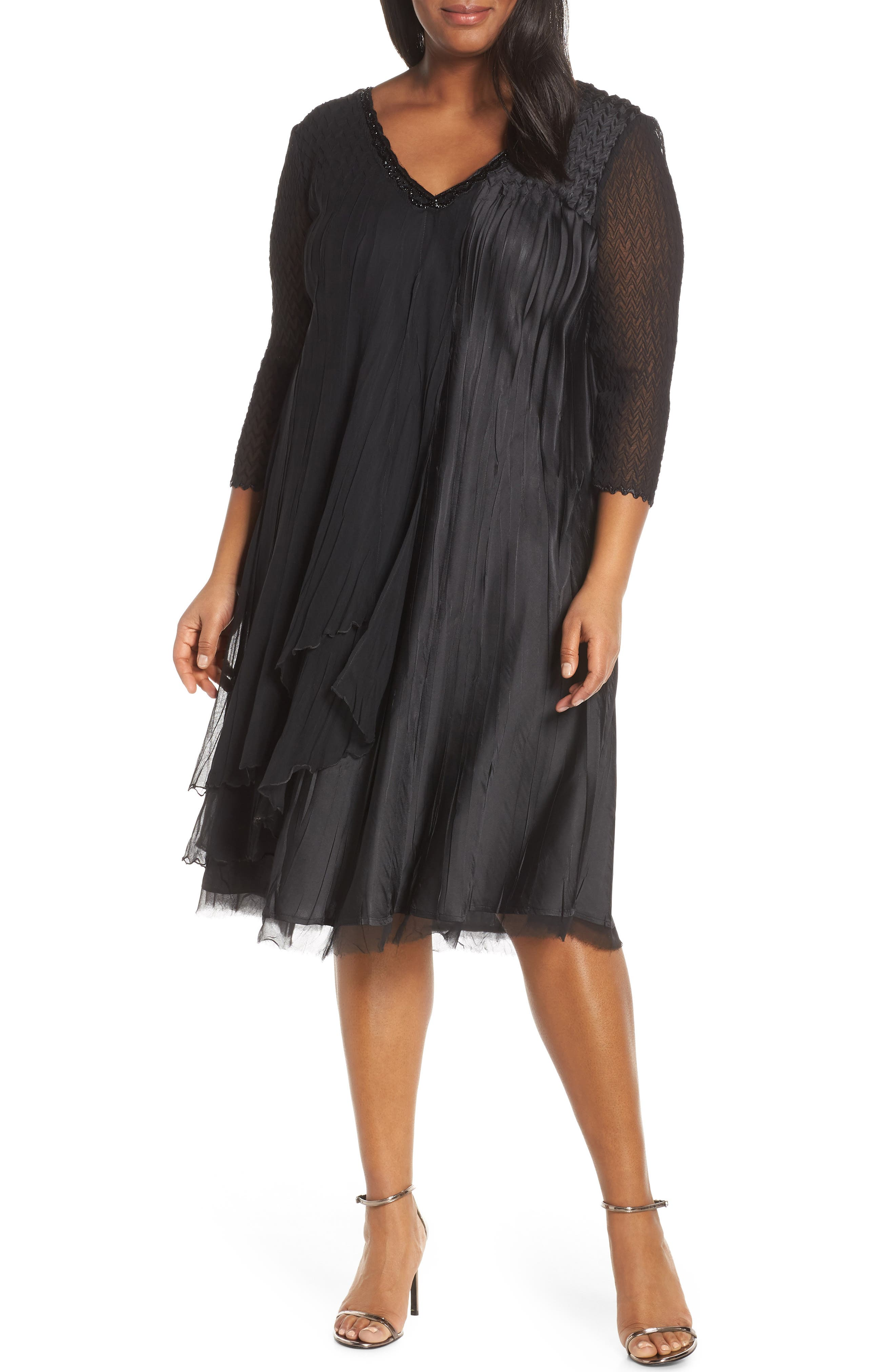 Plus Size Komarov Beaded Neck Chiffon Dress, Black