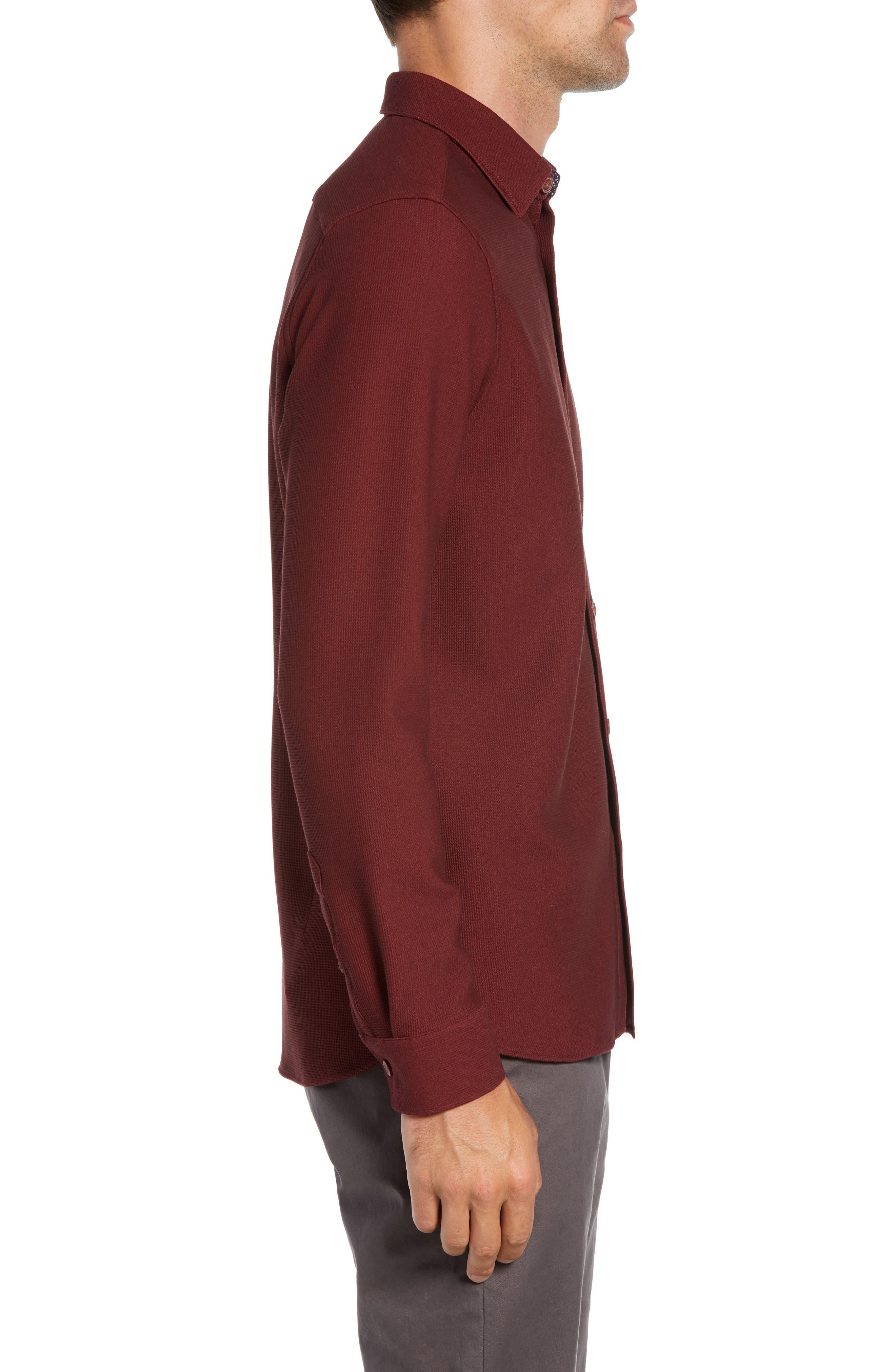 Piccatt Extra Slim Fit Stretch Solid Sport Shirt,                             Alternate thumbnail 4, color,                             DARK RED