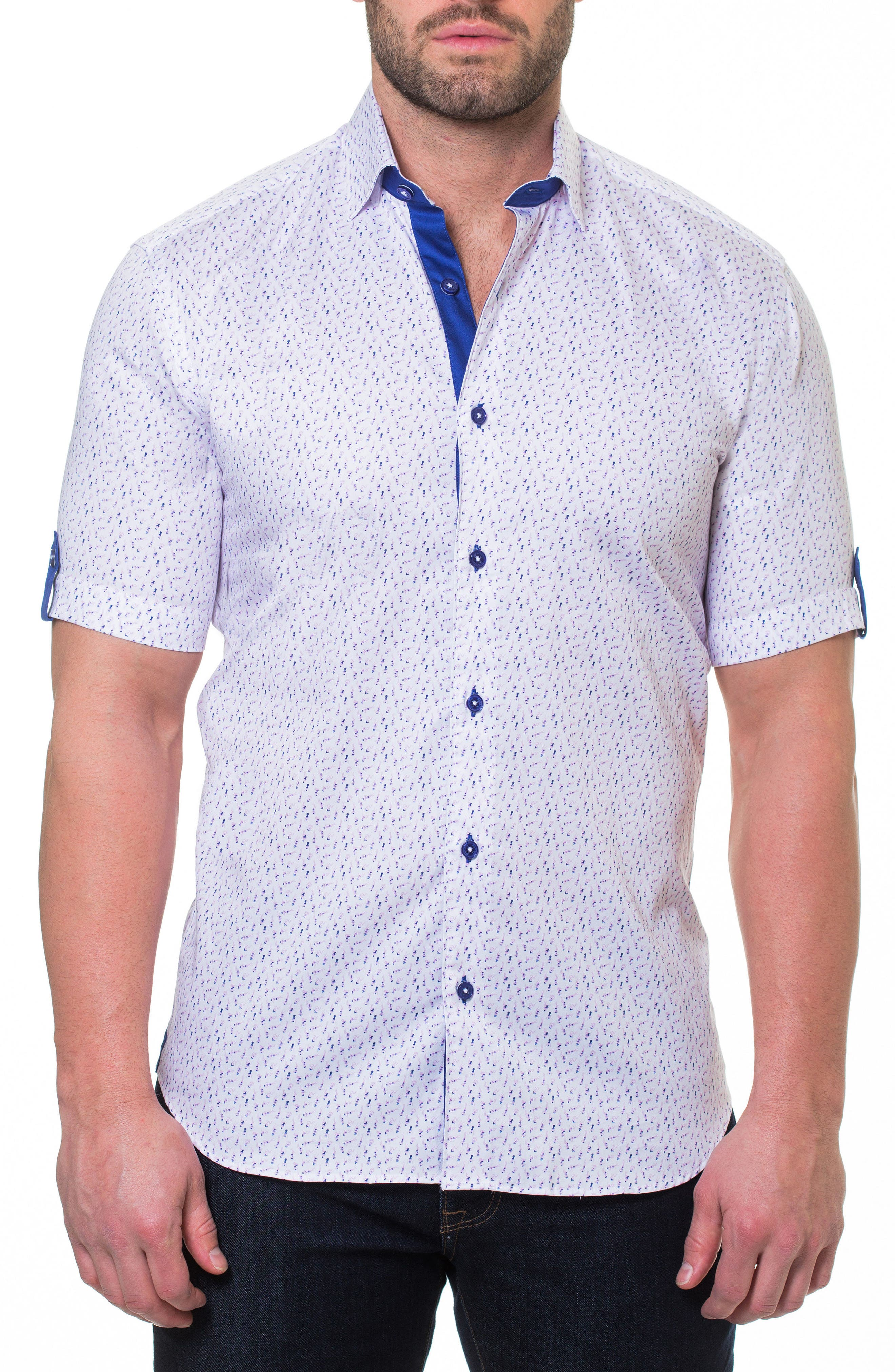 Print Short Sleeve Sport Shirt,                             Main thumbnail 1, color,