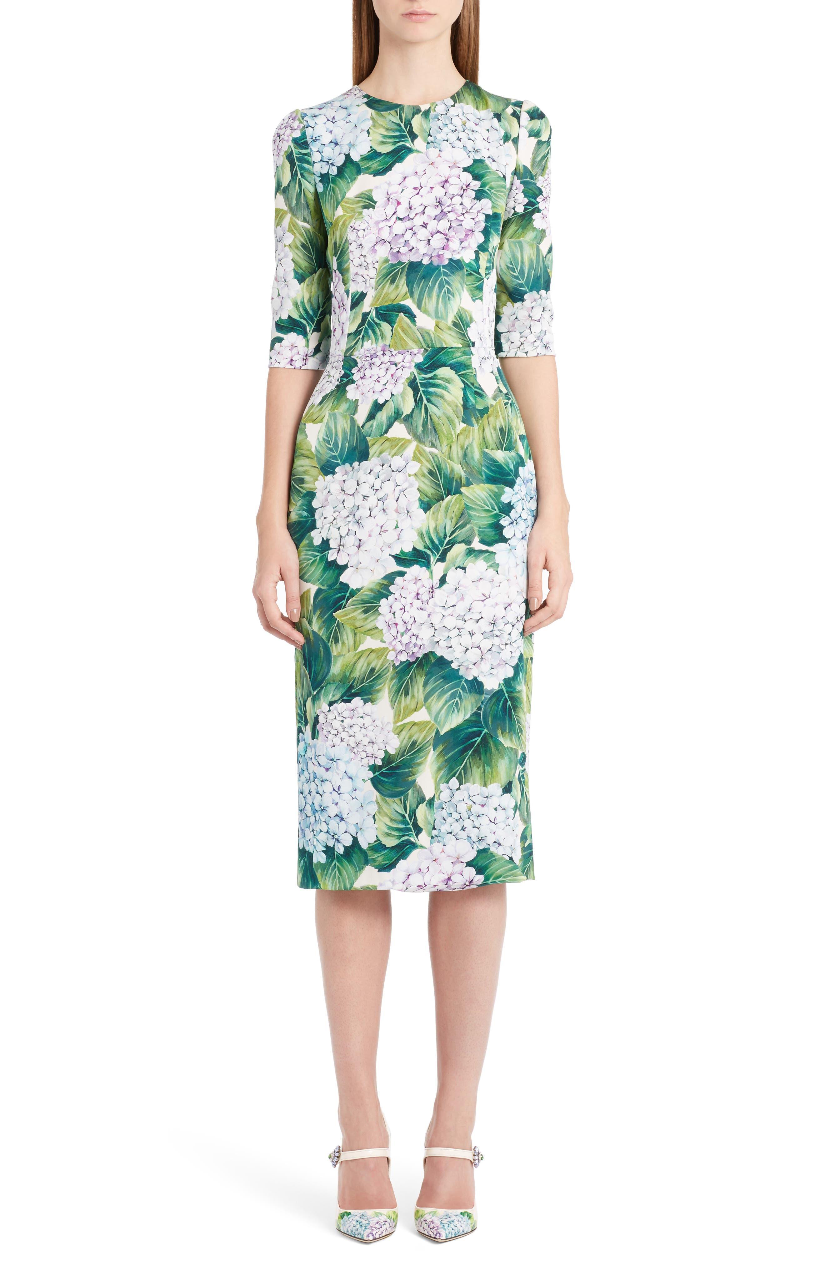Hydrangea Print Stretch Silk Dress,                             Main thumbnail 1, color,                             300